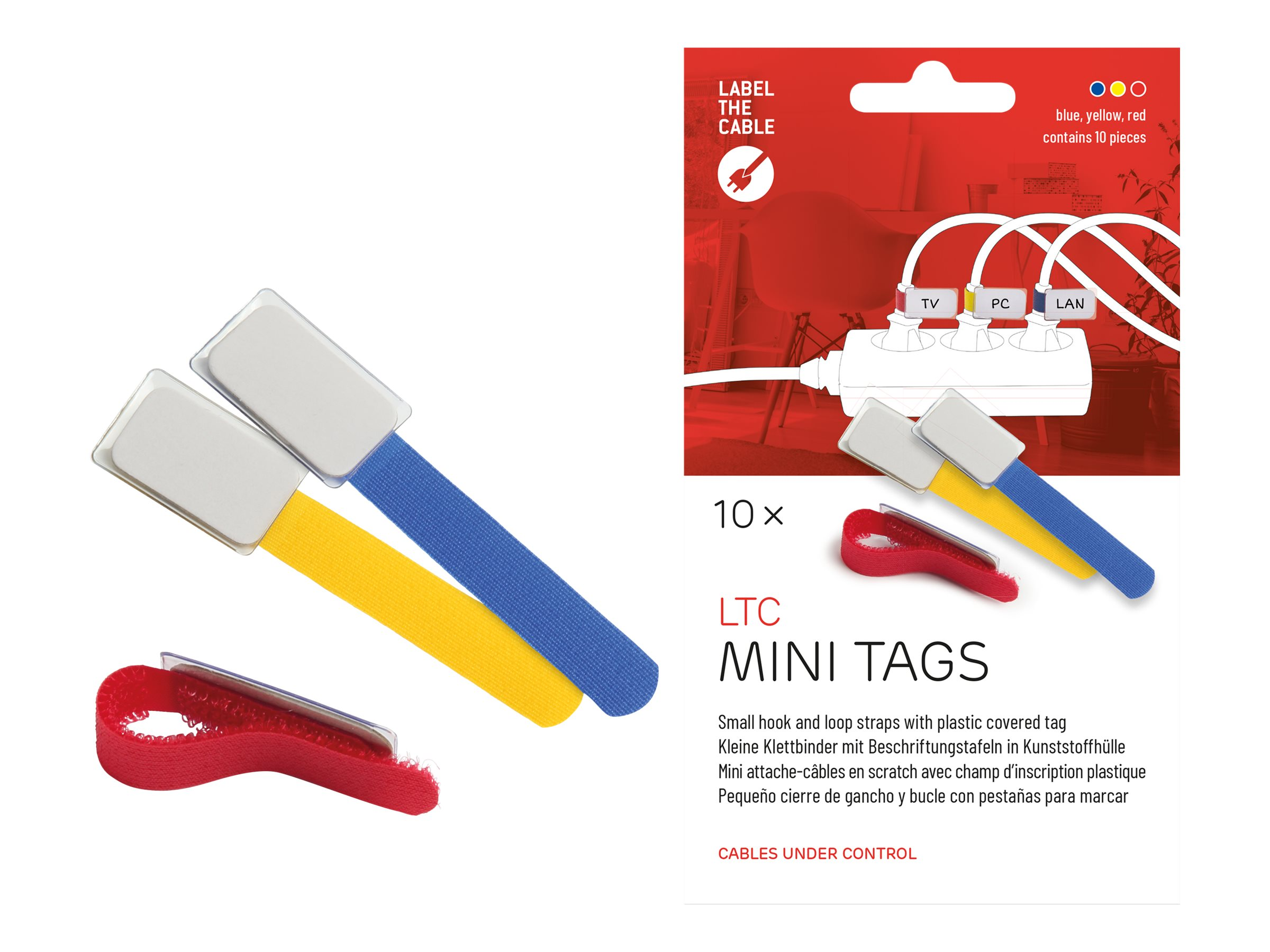Label-the-cable LTC MINI TAGS - Draht-/Kabel-Marker - 9 cm - Blau, Gelb, Rot (Packung mit 10)