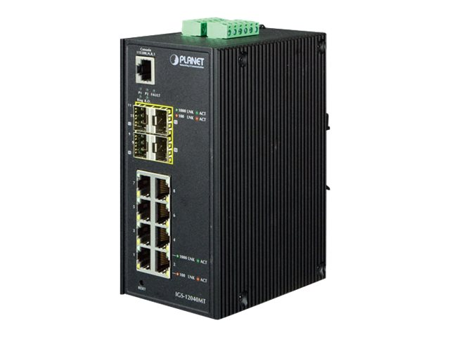 Planet IGS-12040MT - Switch - managed - 8 x 10/100/1000 + 4 x Gigabit SFP