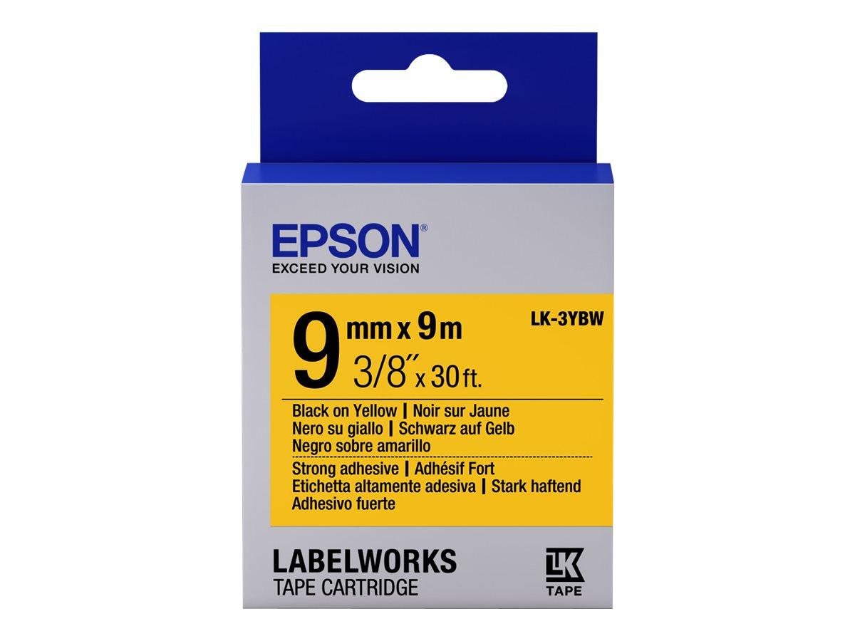 Epson LabelWorks LK-3YBW - Stark klebend - Schwarz auf Gelb - Rolle (9 cm x 9 m)