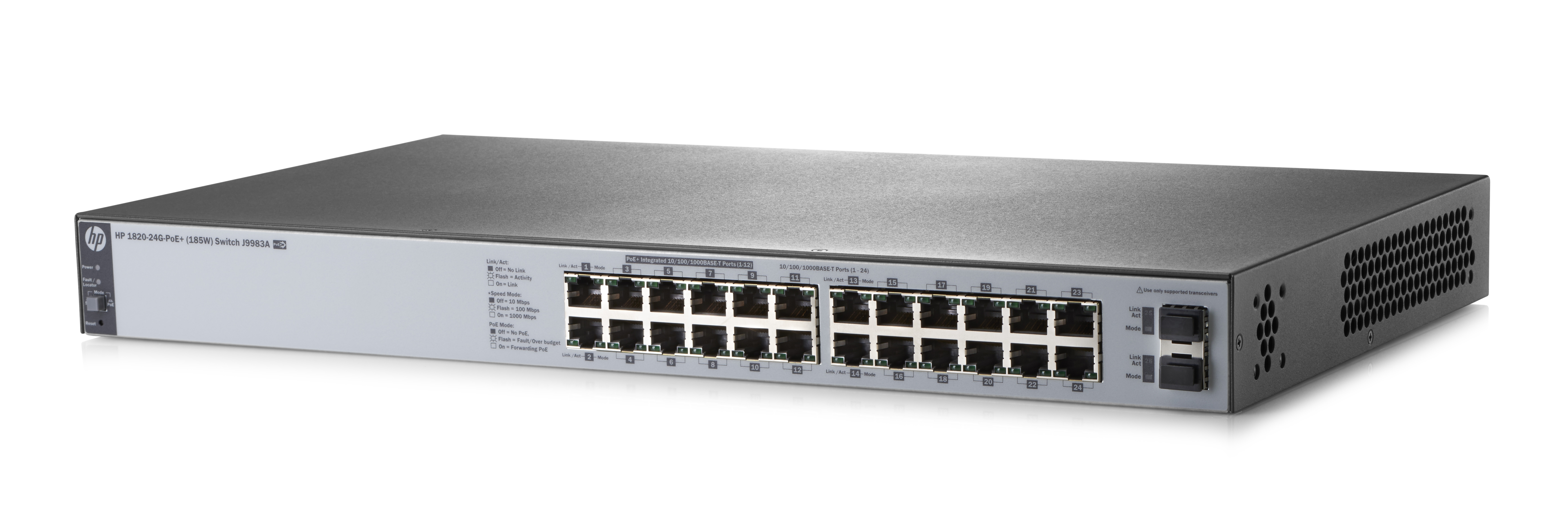 HP Enterprise 1820-24G-PoE+ (185W) - Managed - L2 - Gigabit Ethernet (10/100/1000) - Power over Ethernet (PoE) - Rack-Einbau - 1U