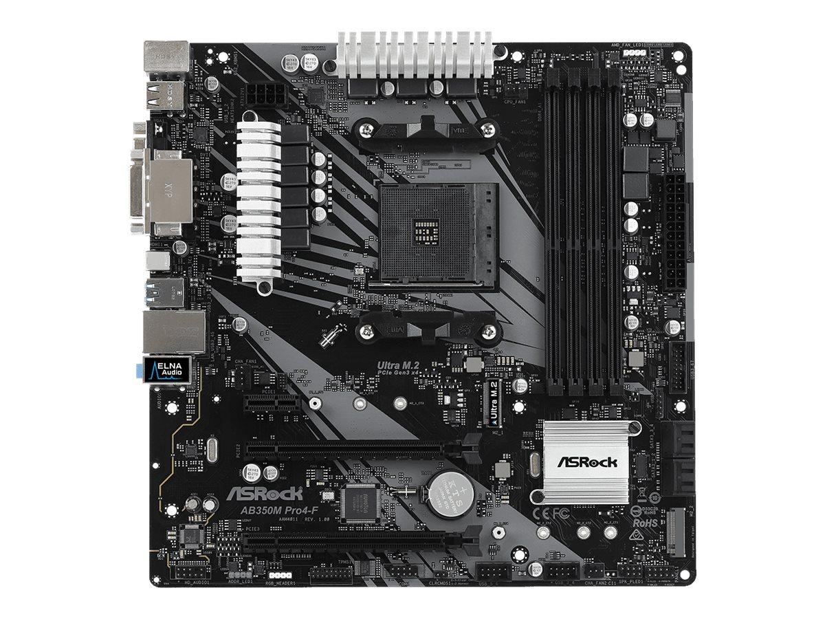 ASRock AB350M Pro4-F - Motherboard - micro ATX - Socket AM4 - AMD B350 - USB 3.1 Gen 1, USB-C Gen1 - Gigabit LAN - Onboa