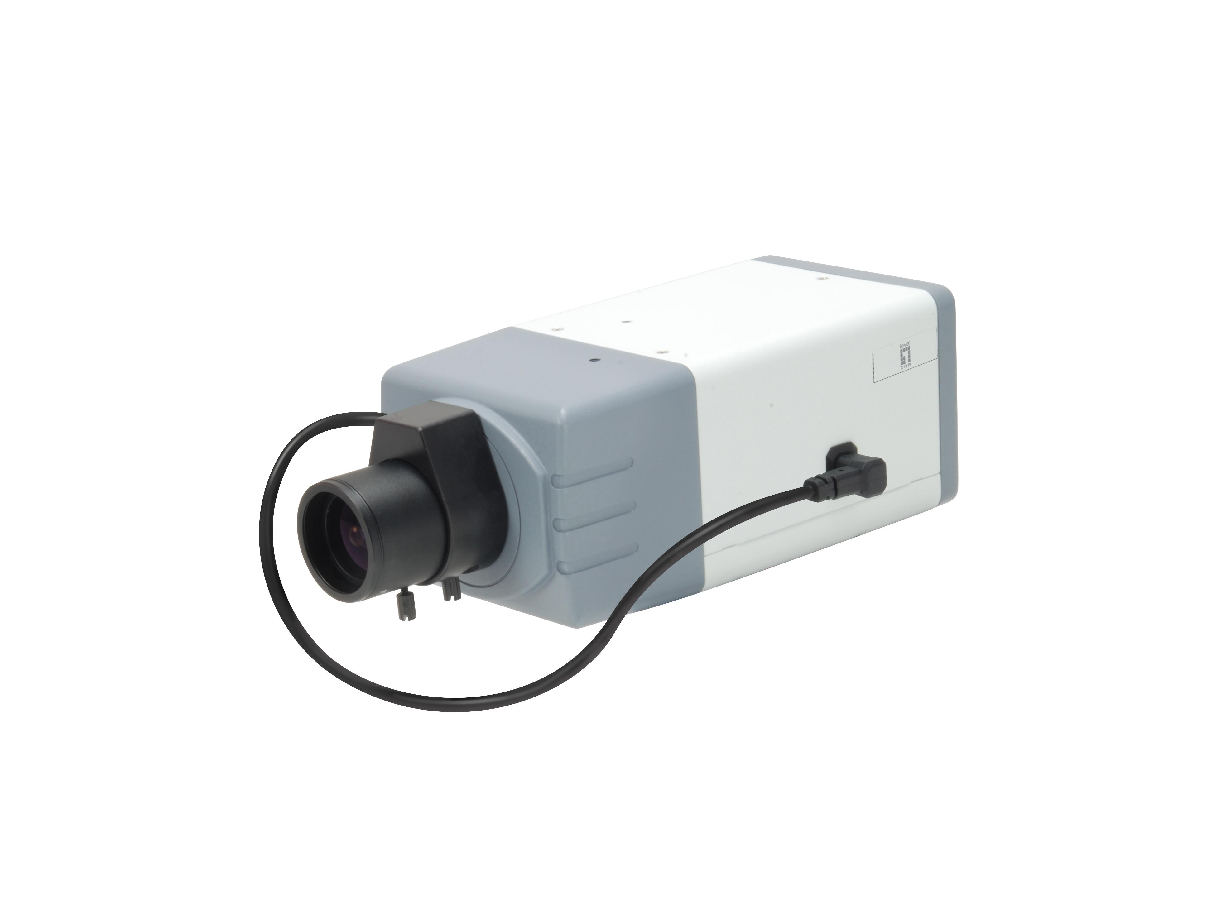 LevelOne Feste-Netzwerkkamera - 5 Megapixel - 802.3af PoE - Tag/Nacht - WDR - IP-Sicherheitskamera - Verkabelt - CE - FCC - ONVIF - Box - Wand - Schwarz - Grau - Weiß