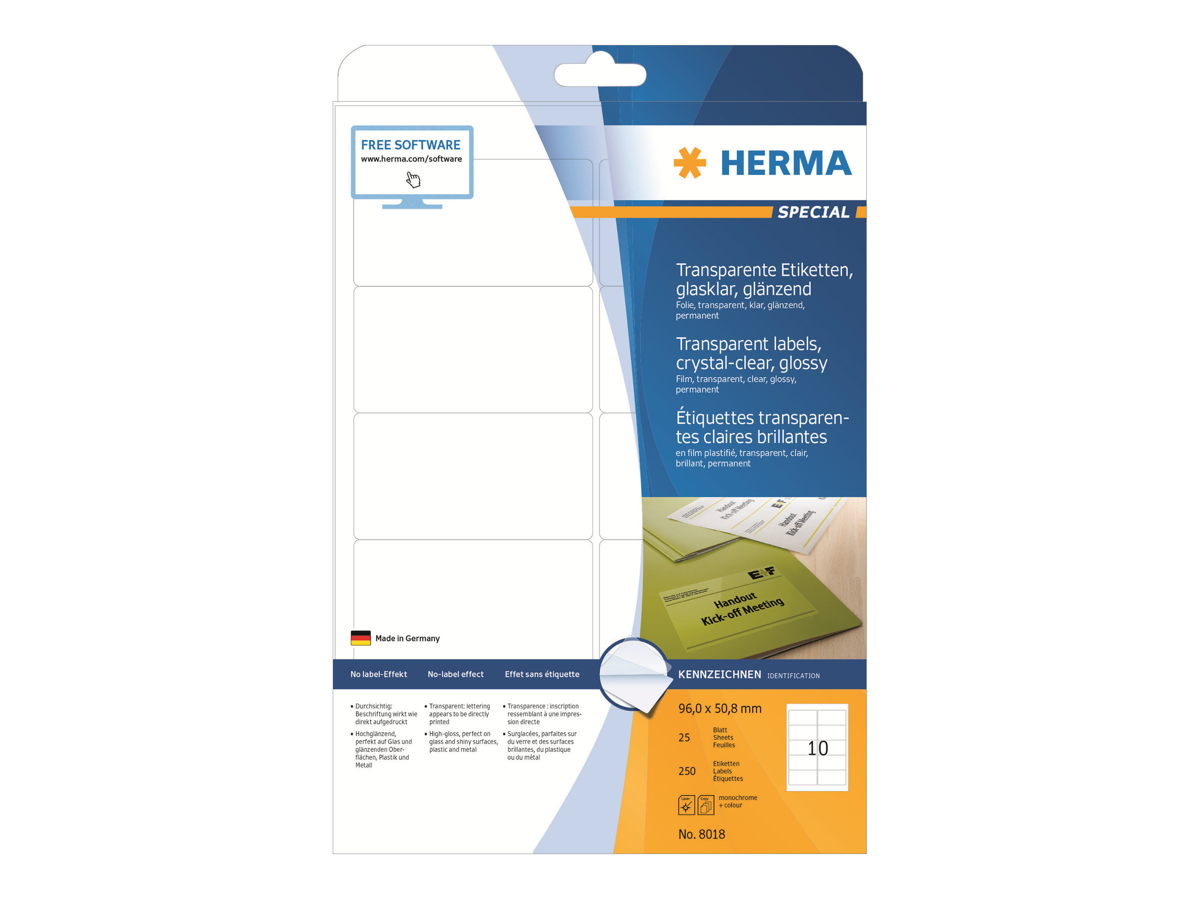HERMA Selbstklebend - durchsichtig - 50.8 x 96 mm 250 Etikett(en) (25 Bogen x 10)