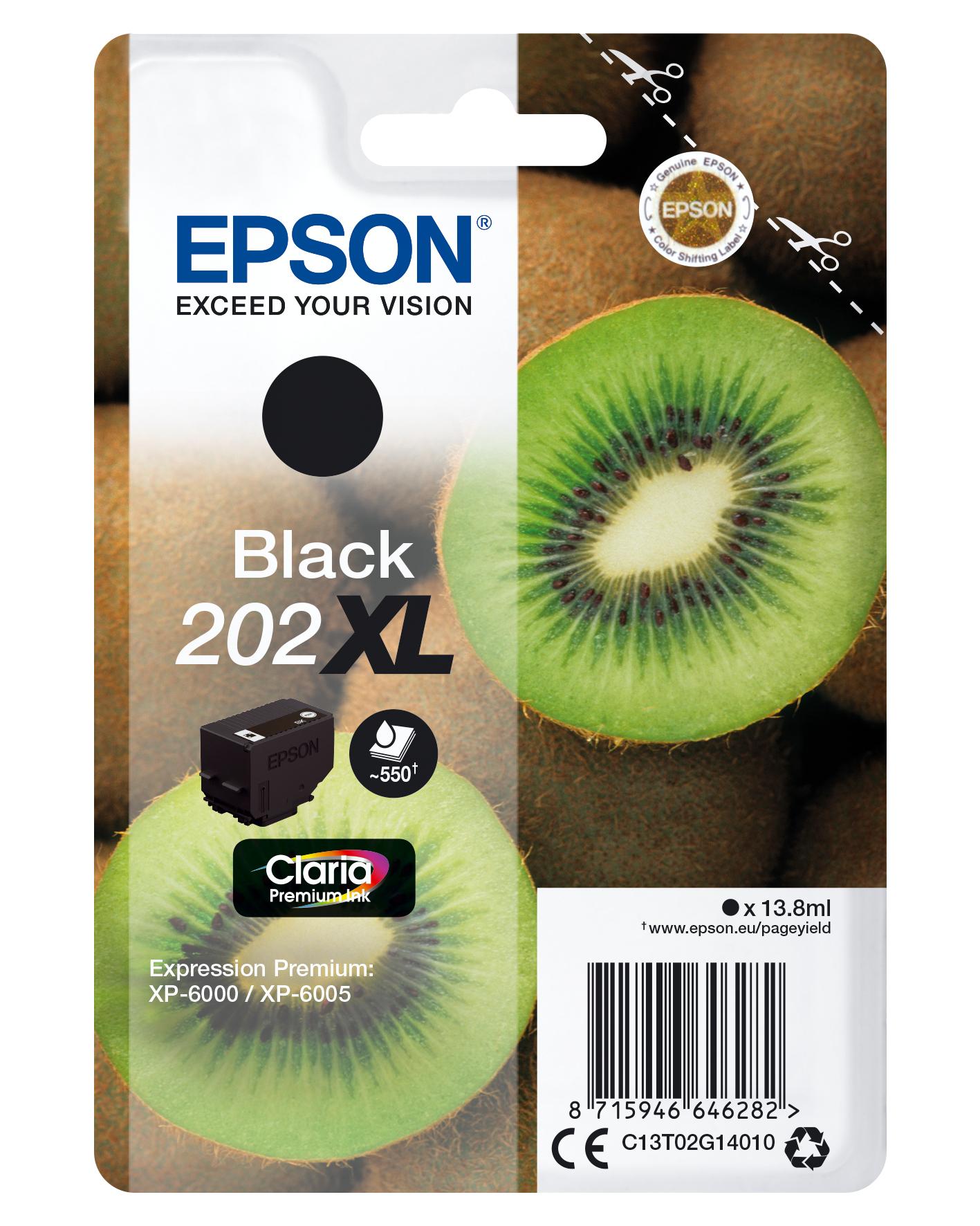 Epson-C13T02G14020-Kiwi-Singlepack-Black-202XL-Claria-Premium-Ink-Original thumbnail 2