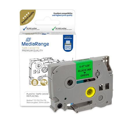 Vorschau: MEDIARANGE MRBTZ731 - Schwarz - Grün - Tintenstrahl - Dauerhaft - Brother P-Touch 1010 - 1080 - 1090 - 1260VP - 1280 - 1280DT - 1290 - 1750 - 1830VP - 18R - 2030VP - 2100VP,... - 1,2 cm - 1 Stück(e)