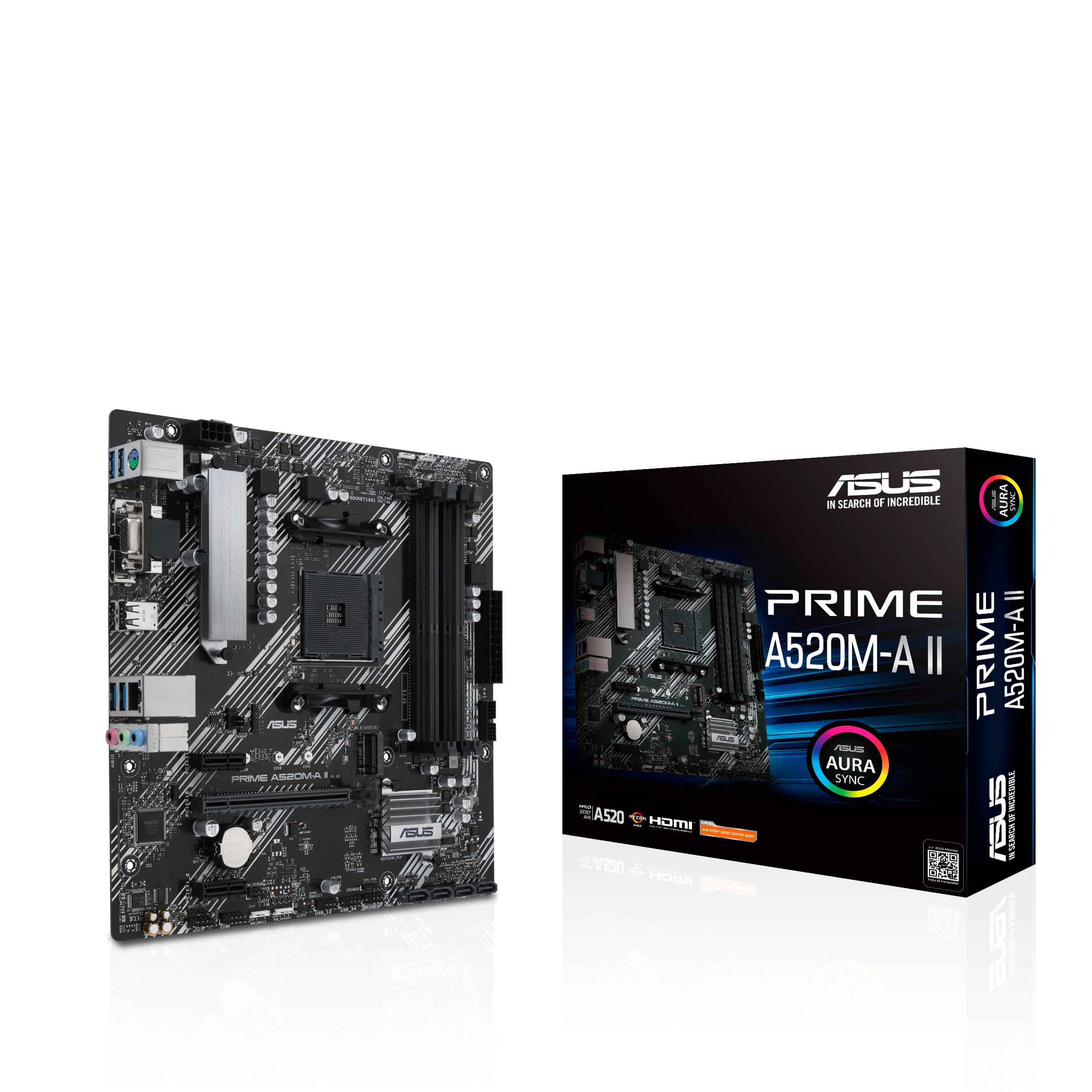 ASUS PRIME A520M-A II - Motherboard - micro ATX - Socket AM4 - AMD A520 - USB 3.2 Gen 1 - Gigabit LAN - Onboard-Grafik (CPU erforderlich)