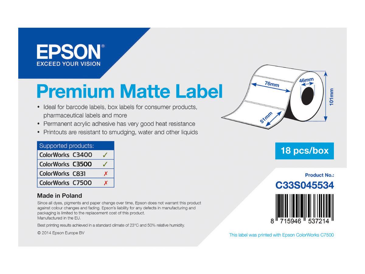 Epson Premium - Matt - 76 x 51 mm 650 Etikett(en) (1 Rolle(n) x 650) gestanzte Etiketten