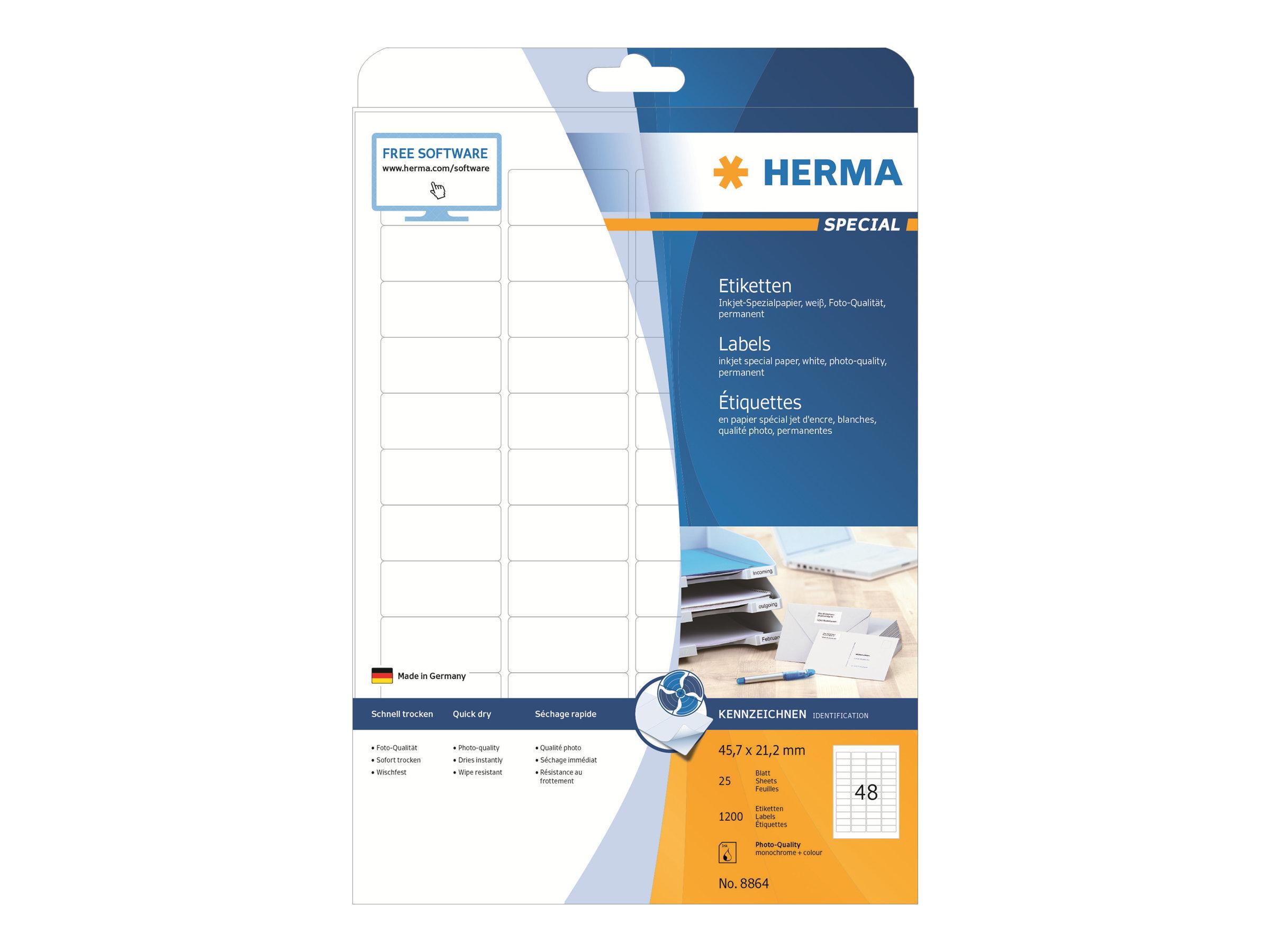 HERMA Special - Papier - matt - permanent selbstklebend - beschichtet - weiß - 45.7 x 21.2 mm - 90 g/m² - 1200 Etikett(en) (25 Bogen x 48)