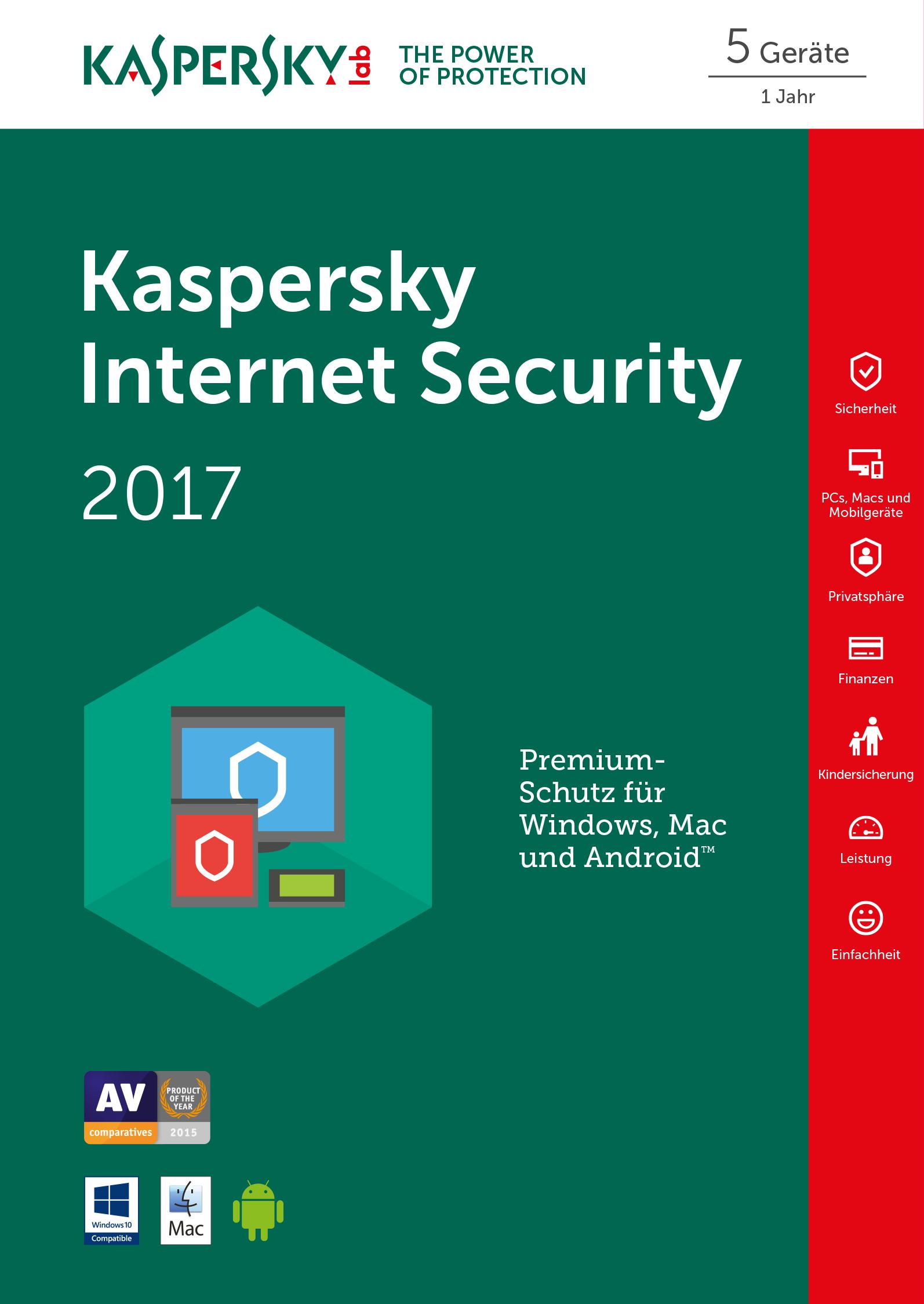 Kaspersky Internet Security 2017 - Box-Pack ( 1 Jahr ) - 5 Peripheriegeräte ( Sierra )
