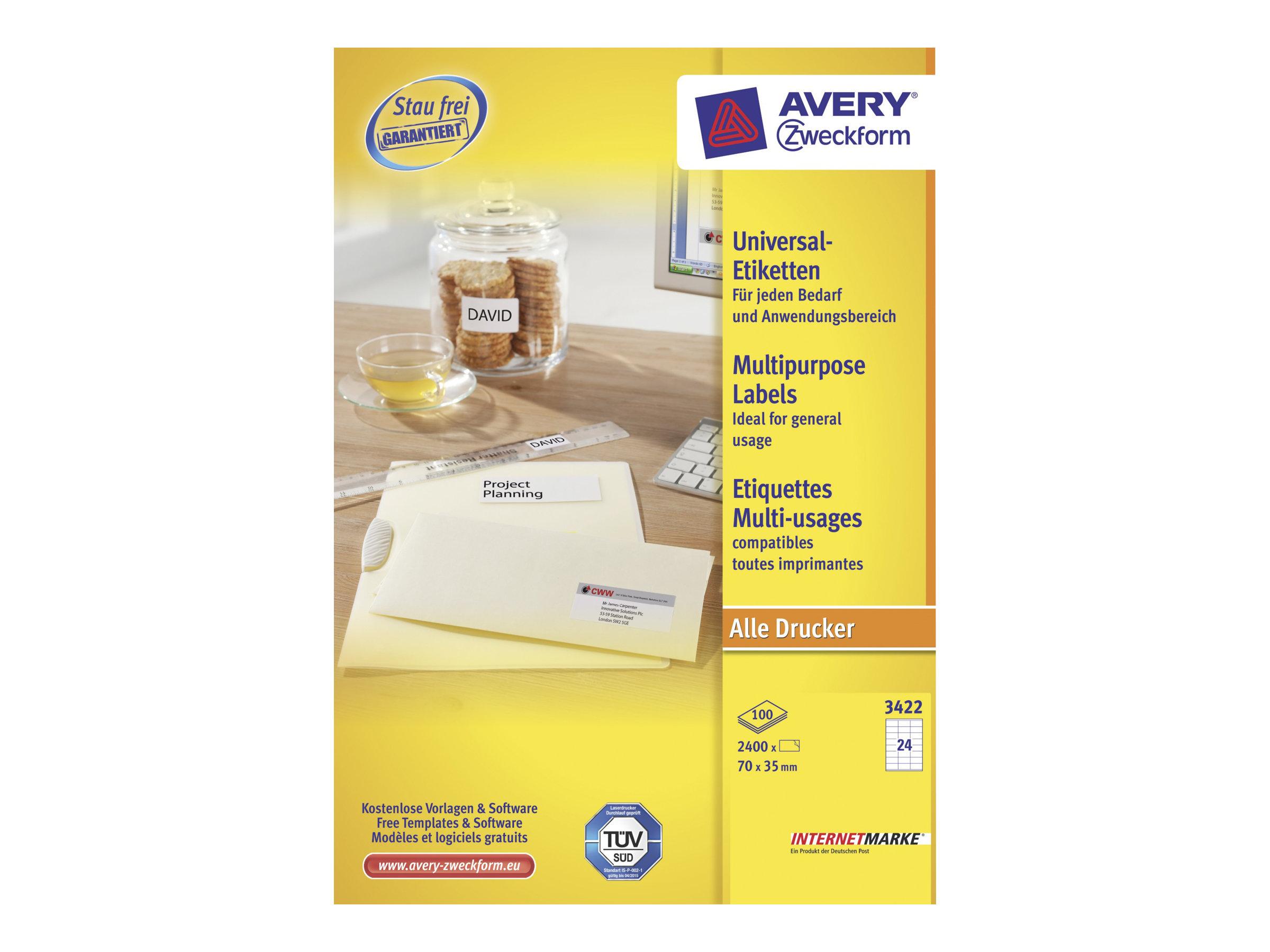 Avery Zweckform  Weiß - 70 x 35 mm 2400 Etikett(en) (100 Bogen x 24) Mehrzwecketiketten