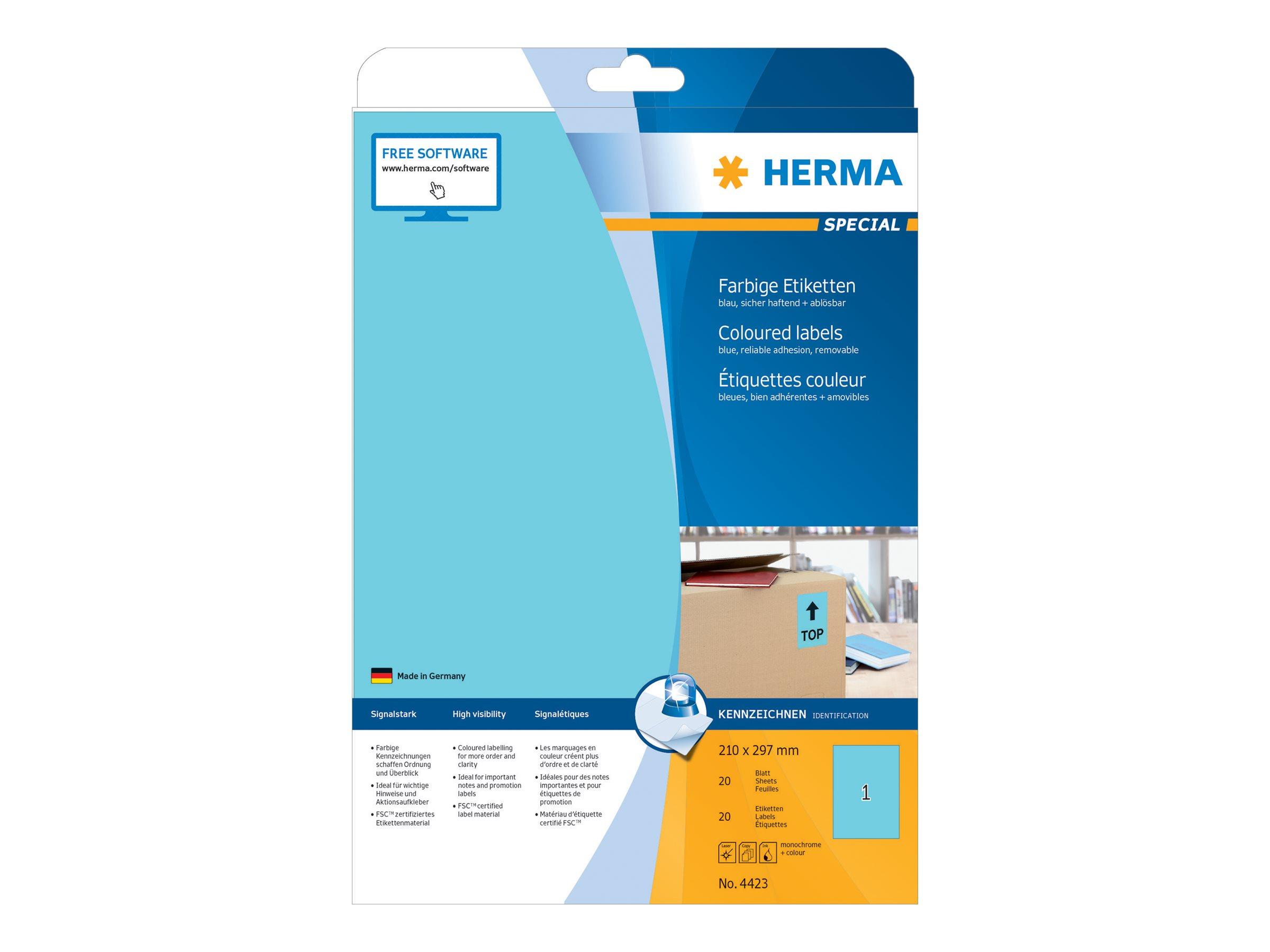 HERMA Special - Papier - matt - permanent selbstklebend - Blau - A4 (210 x 297 mm)