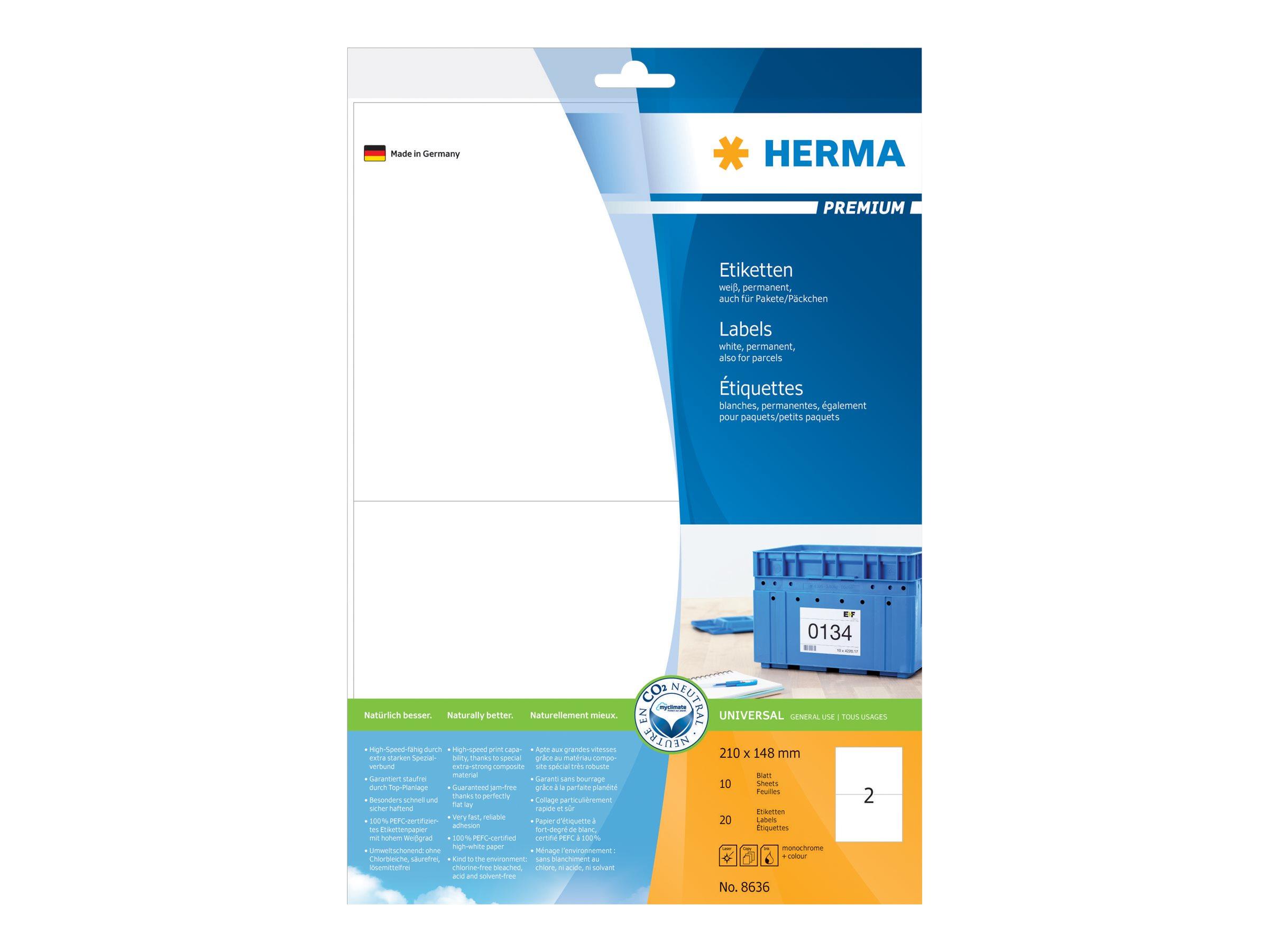 HERMA Premium - Papier - matt - permanent selbstklebend - weiß - 210 x 148 mm 20 Etikett(en) (10 Bogen x 2)