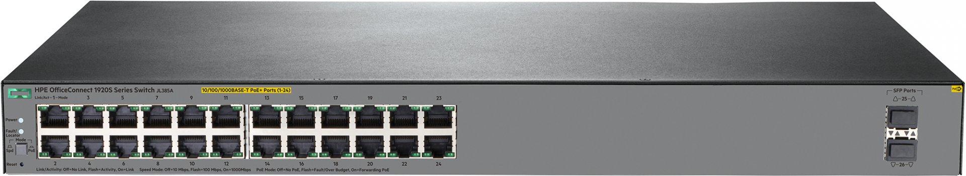 HP Enterprise OfficeConnect 1920S 24G 2SFP PoE+ 370W - Managed - L3 - Gigabit Ethernet (10/100/1000) - Power over Ethernet (PoE) - Rack-Einbau - 1U