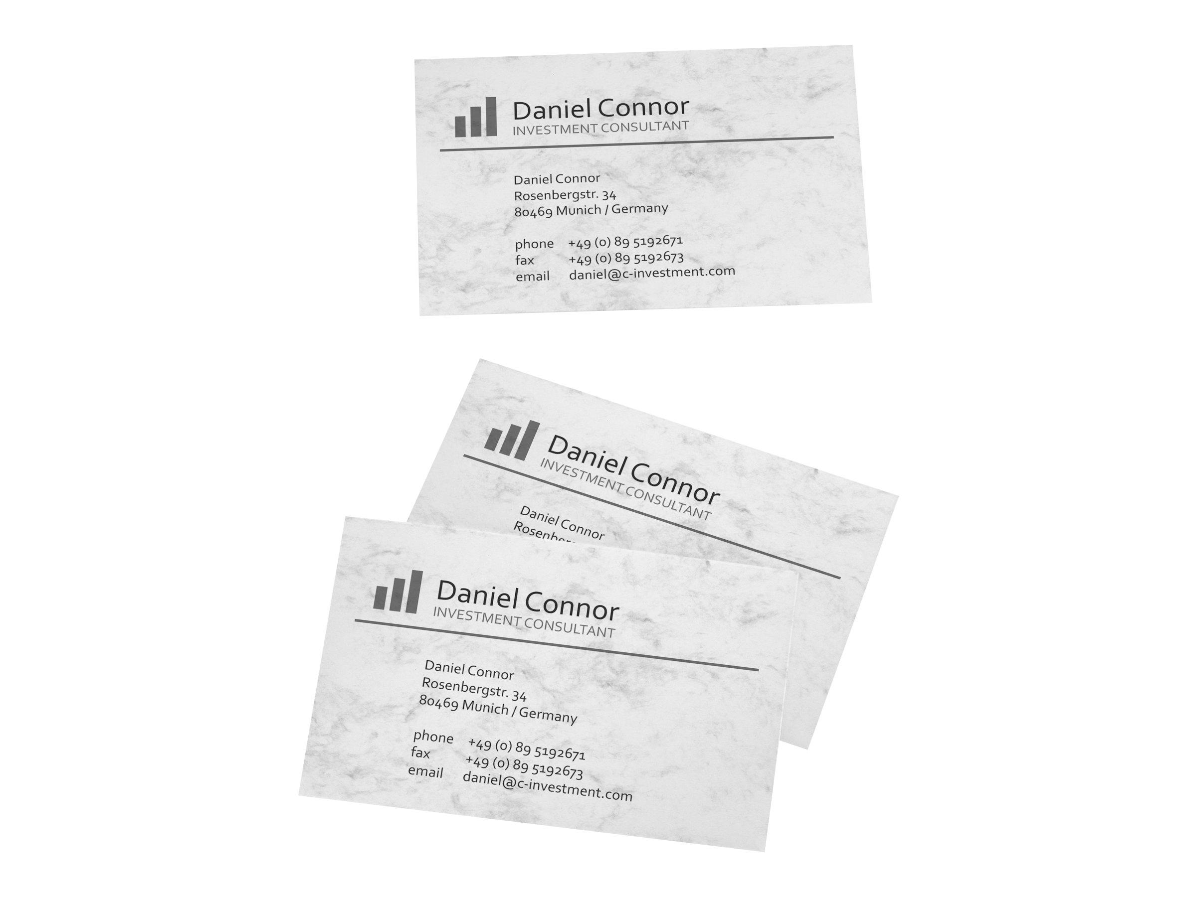 Sigel Business Card 3C DP742 - Marble Gray - 85 x 55 mm - 225 g/m² - 100 Karte(n) (10 Bogen x 10)
