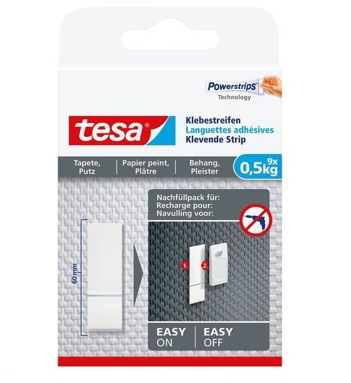 Tesa Klebestreifen für Tapeten und Putz - Montageband - Weiß - Indoor - Papier - Putz - 0,5 kg - 9 Stück(e)