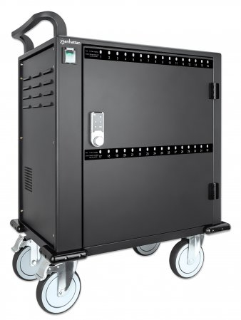 Manhattan 32-Port Ladeschrank auf Rollen 576 W - 32 USB-C PD-Ports - geräumige Fächer für Handys und Tablets - 576 W gesamt - bis zu 3 A/18 W pro Port - Tür mit PIN-Code abschließbar - Überspannungsschutz - leiser Lüfter - Metallgehäuse - schwarz - Wagen zur Verwal