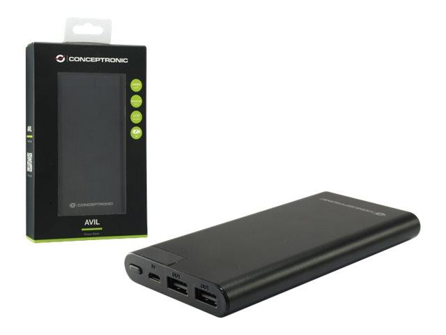 Conceptronic AVIL - Powerbank - 10000 mAh - 10 Watt - 2 A - 2 Ausgabeanschlussstellen (USB)