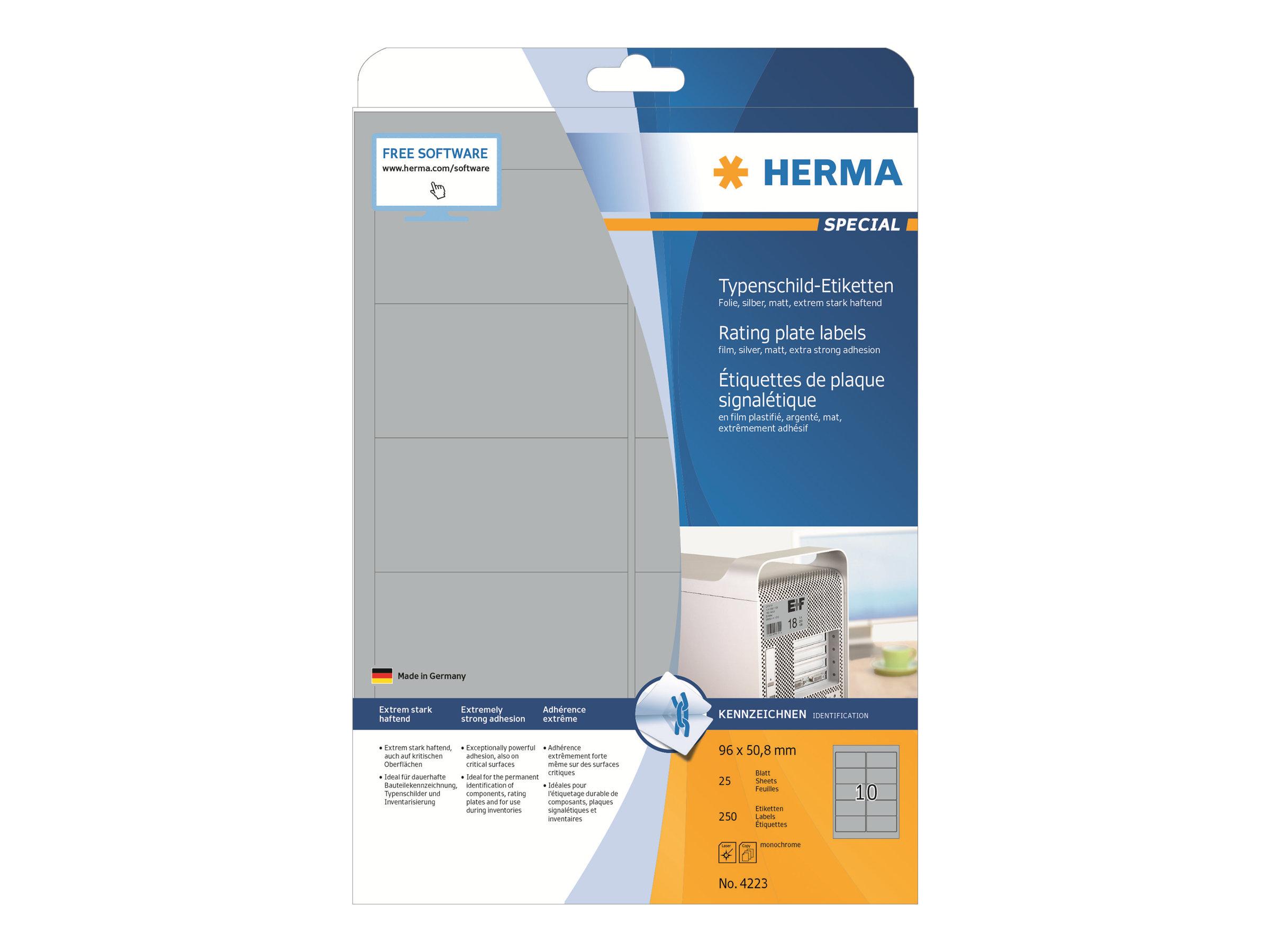 HERMA Special - Polyester - matt - permanent selbstklebend - Silber - 96 x 50.8 mm 250 Etikett(en) (25 Bogen x 10)
