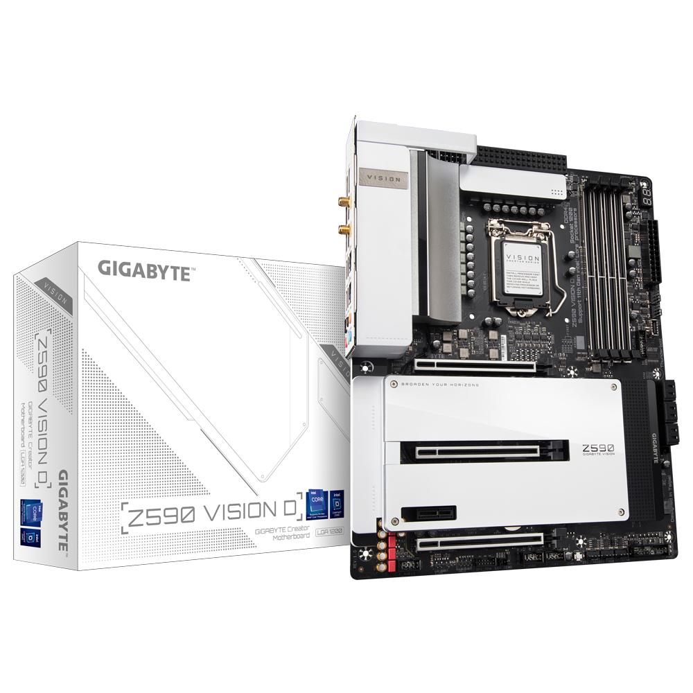 Gigabyte Z590 VISION D - 1.0 - Motherboard - ATX - LGA1200-Sockel - Z590 - USB-C Gen2, USB 3.2 Gen 1, USB 3.2 Gen 2, USB-C Gen 2x2 - Wi-Fi, Bluetooth, 2 x 2.5 Gigabit LAN - Onboard-Grafik (CPU erforderlich)