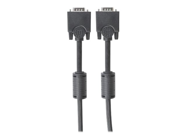 Manhattan SVGA Monitor Cable with Ferrite Cores, HD15, 3m, Male to Male, Compatible with VGA, Shielded with Ferrite Cores to help minimise EMI interference for improved video transmission, Black, Lifetime Warranty, Polybag - VGA-Kabel - HD-15 (VGA)