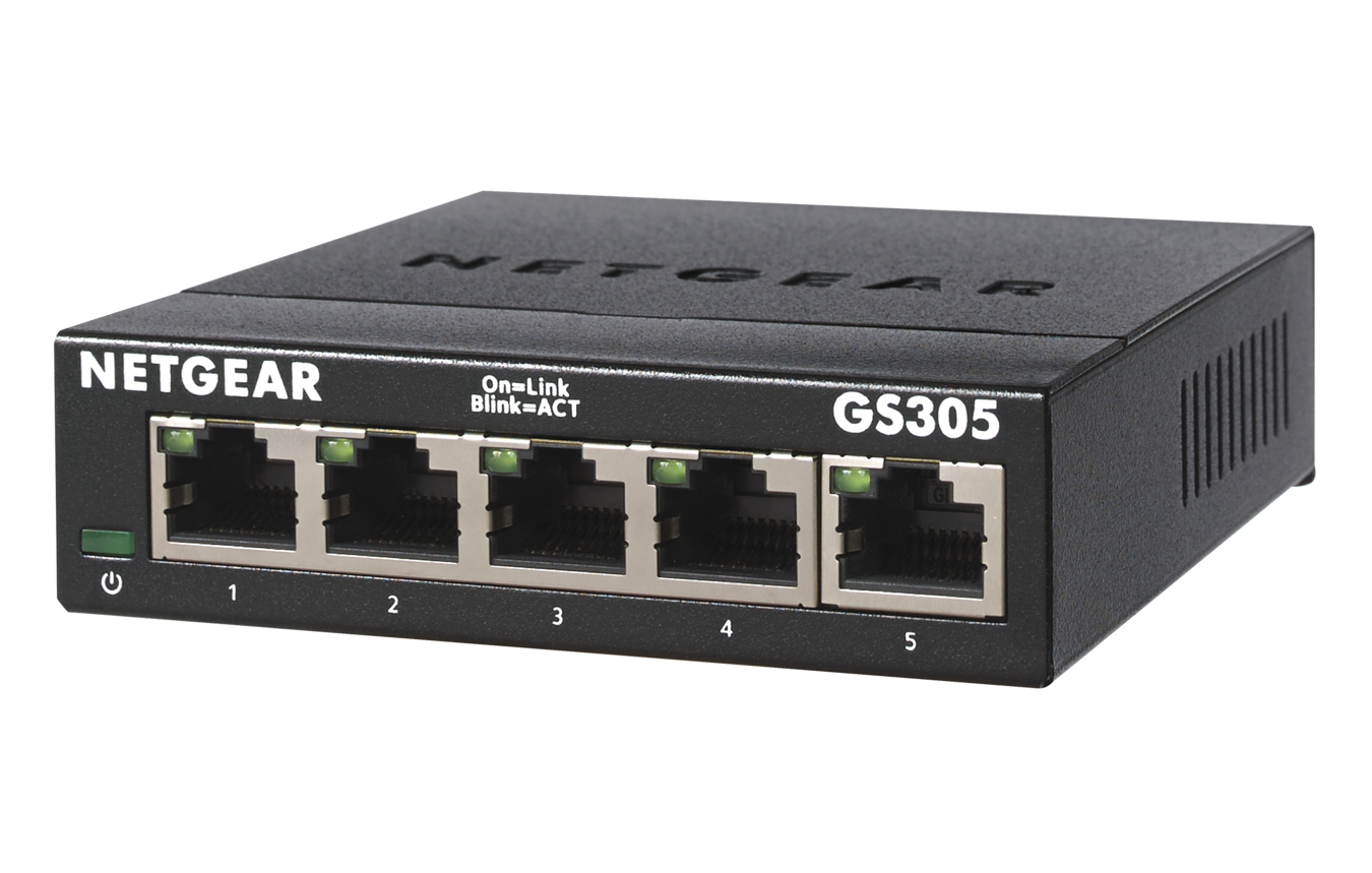 Netgear GS305-300PES - Unmanaged - L2 - Gigabit Ethernet (10/100/1000) - Wandmontage