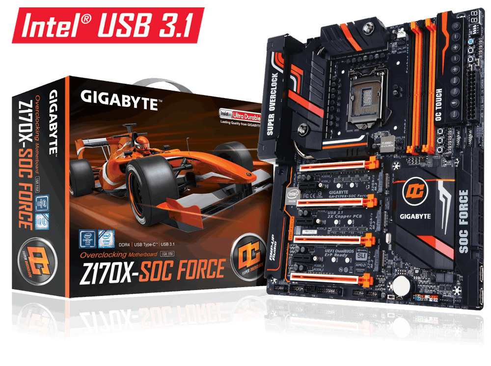 Gigabyte GA-Z170X-SOC FORCE (rev. 1.0) Intel Z170 LGA 1151 (Socket H4) Erweitertes ATX Motherboard