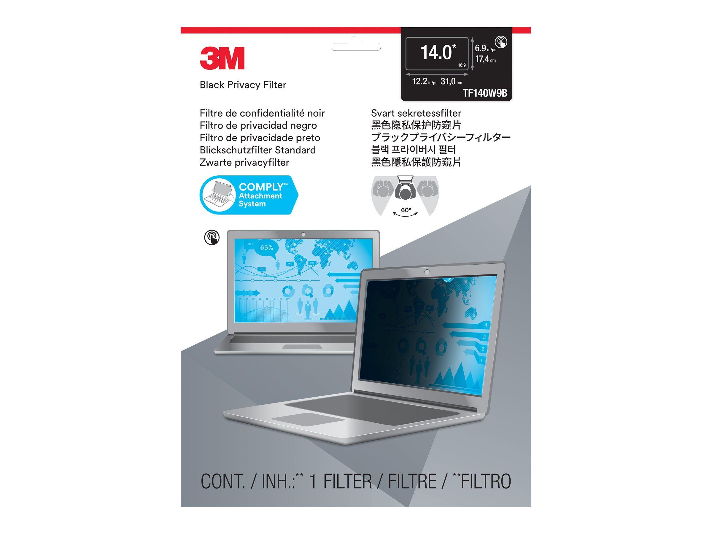 "3M Blickschutzfilter für Touch-Laptops TF140W9B for 14.0"" Widescreen Laptop - Standard Fit with COMPLY Attachment System - Blickschutzfilter für Notebook - 35.6 cm (14"")"
