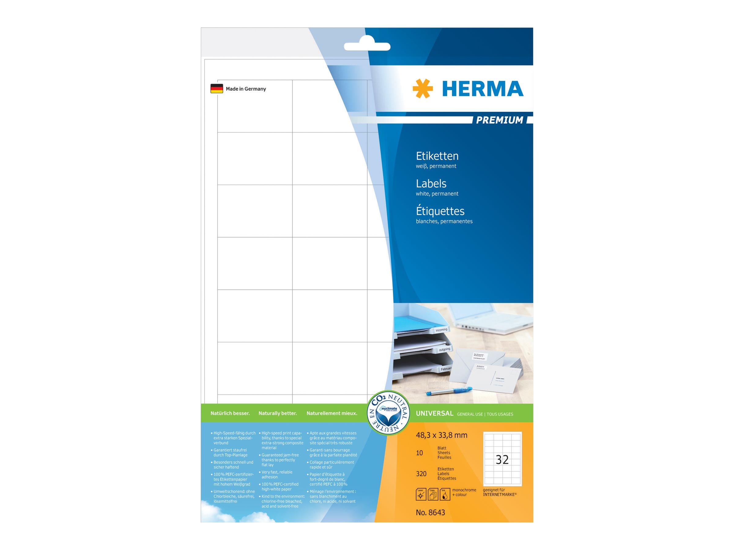 HERMA Premium - Papier - matt - permanent selbstklebend - weiß - 48.3 x 33.8 mm 320 Etikett(en) (10 Bogen x 32)