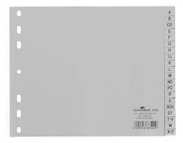Durable 6500 - Alphabetischer Registerindex - Polypropylen (PP) - Grau - Porträt - A5 - 230 mm