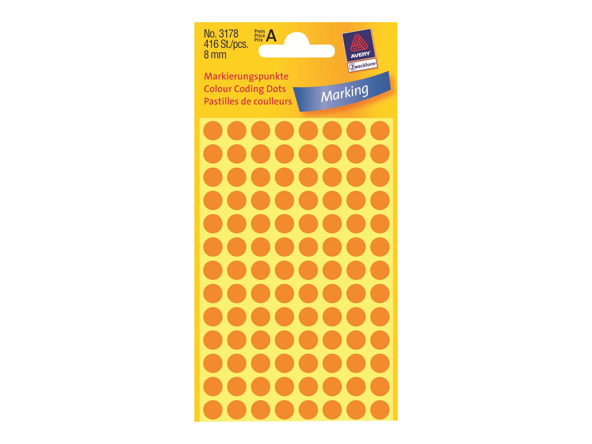 Avery Zweckform Selbstklebend - fluoreszierend Orange - 8 mm rund 416 Etikett(en) (4 Bogen x 104)