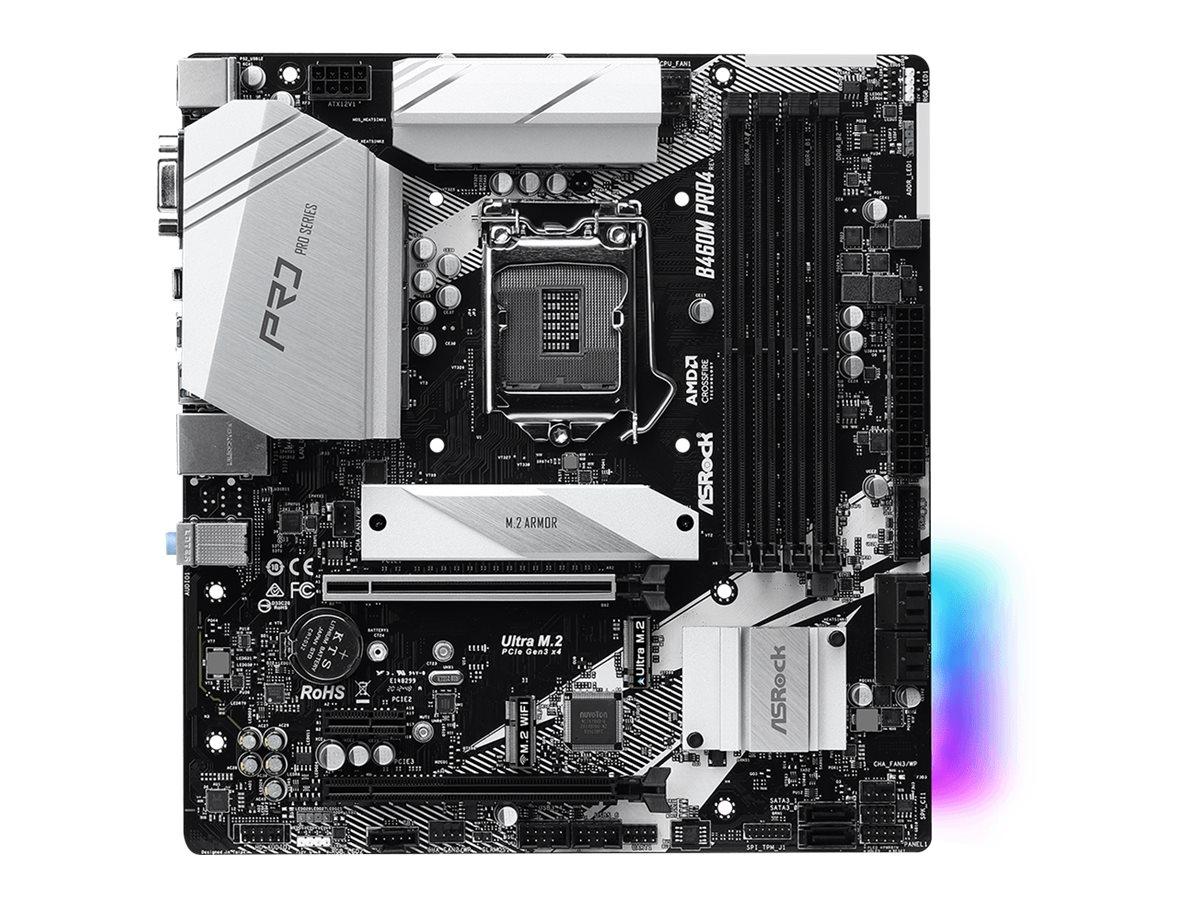 ASRock B460M Pro4 - Motherboard - micro ATX - LGA1200-Sockel - B460 - USB-C Gen1, USB 3.2 Gen 1 - Gigabit LAN - Onboard-
