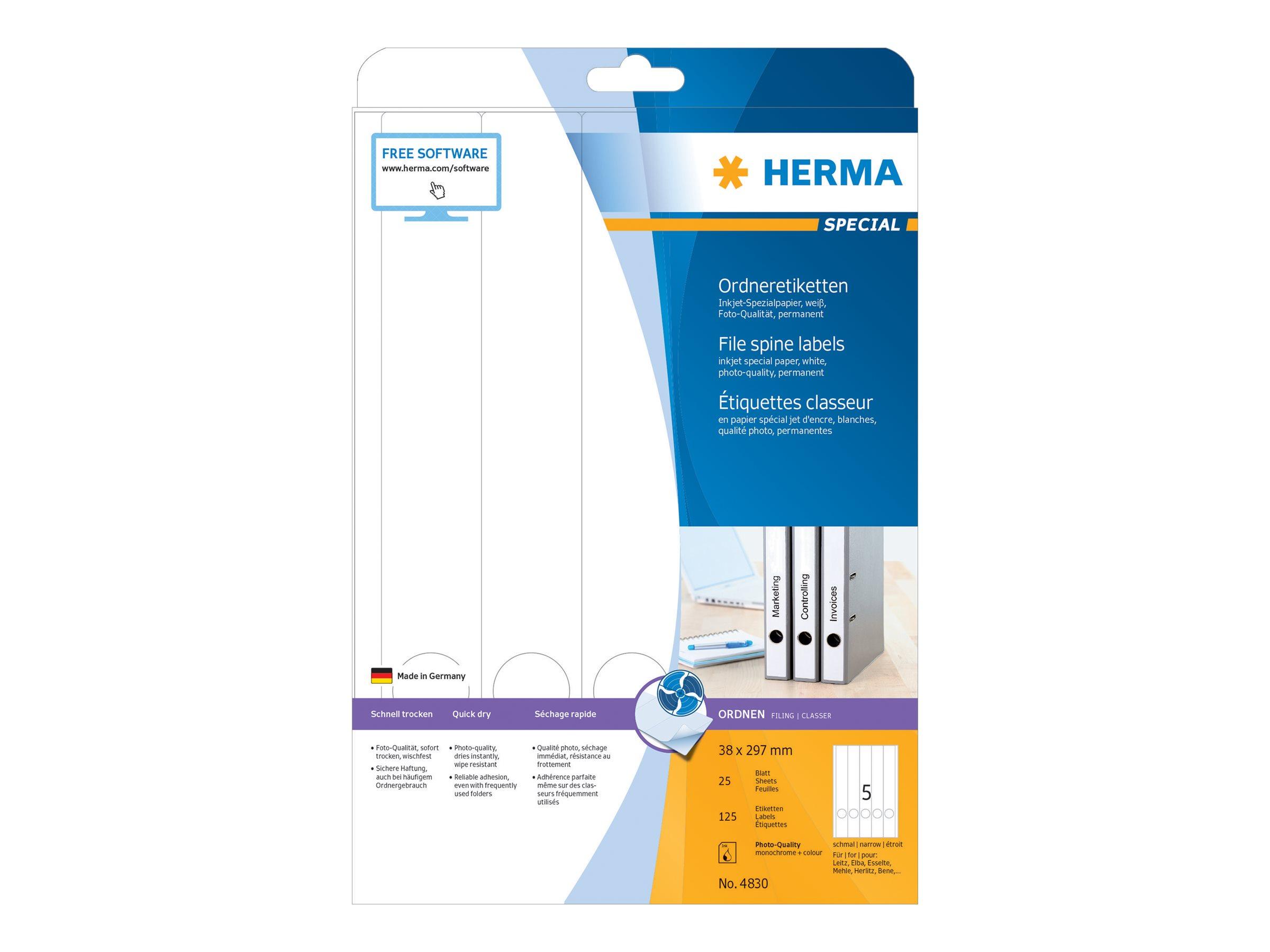 HERMA Special - Papier - matt - permanent selbstklebend - beschichtet - weiß - 38 x 297 mm - 90 g/m² - 125 Etikett(en) (25 Bogen x 5)