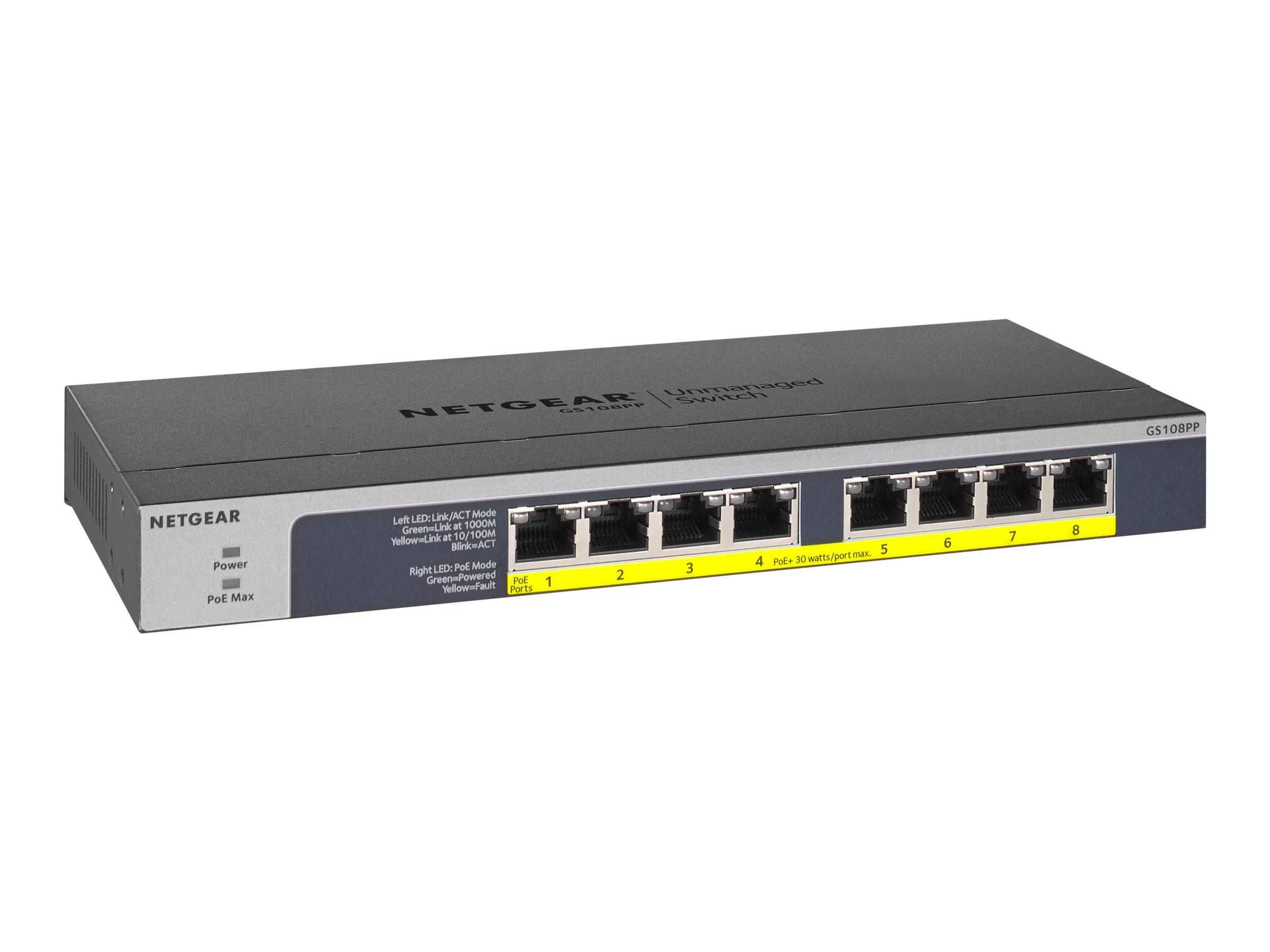 Netgear GS108PP - Switch - 8 x 10/100/1000 (PoE+)
