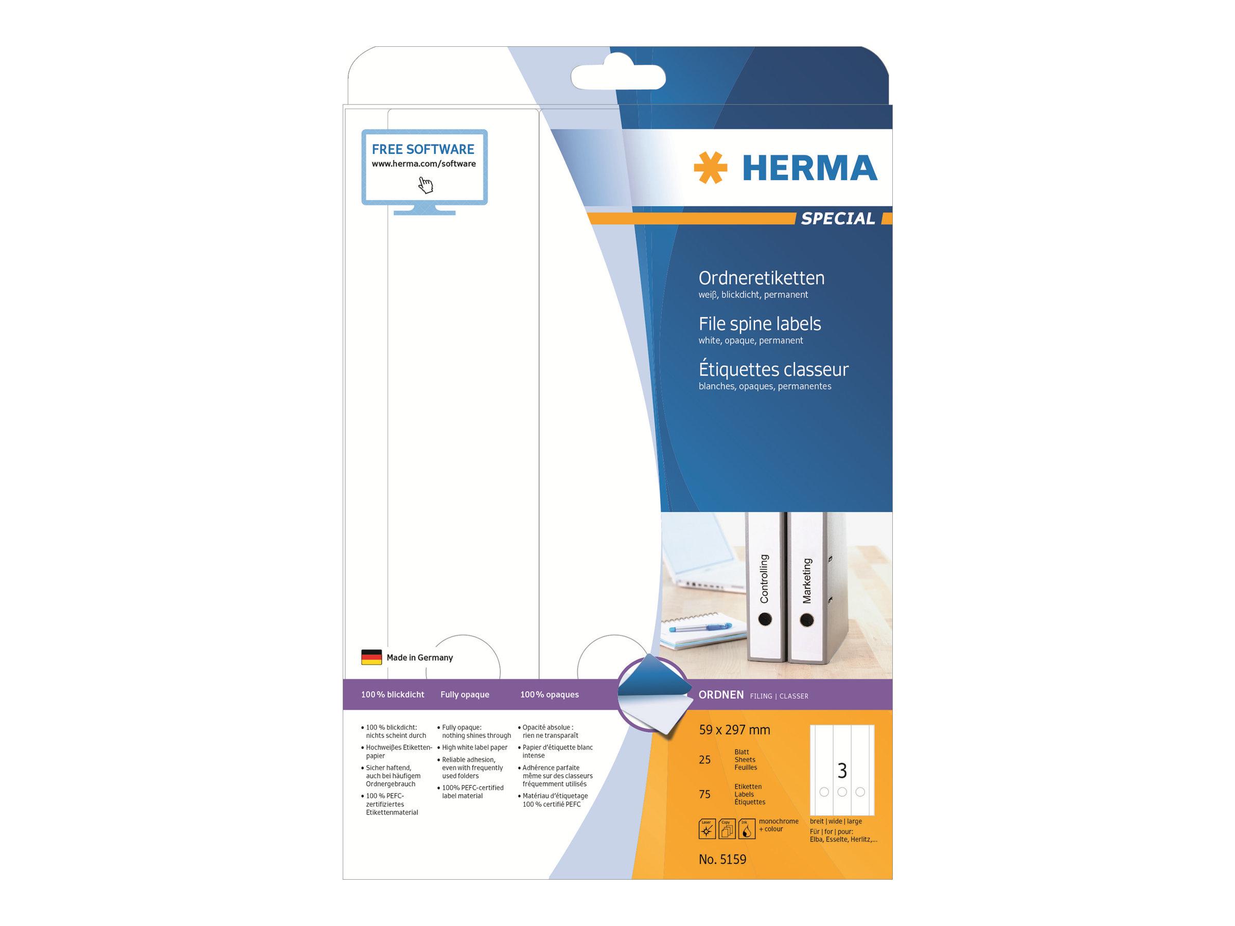 HERMA Special - Papier - matt - permanent selbstklebend - perforiert - weiß - 59 x 297 mm 75 Etikett(en) (25 Bogen x 3)