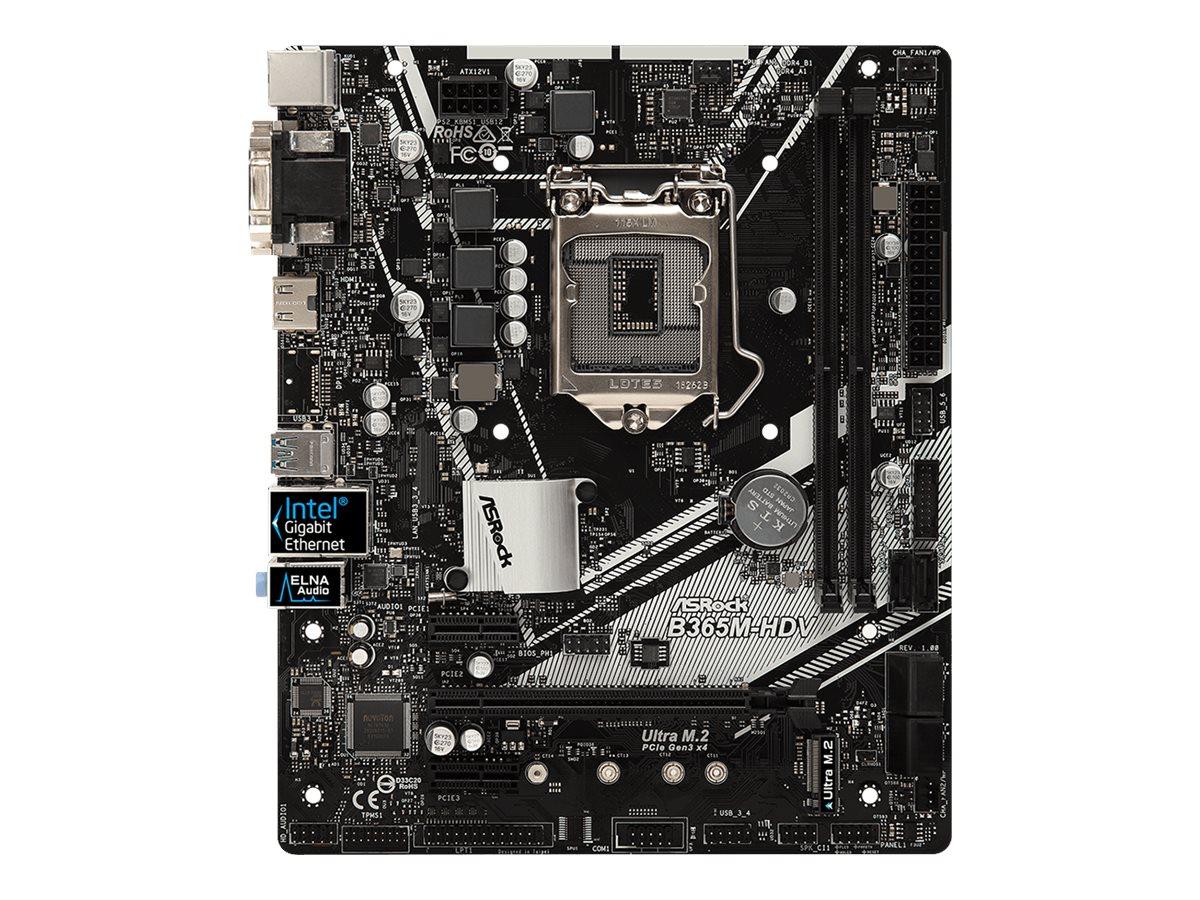 ASRock B365M-HDV - Motherboard - micro ATX - LGA1151 Socket - B365 - USB 3.1 Gen 1 - Gigabit LAN - Onboard-Grafik (CPU erforderlich)