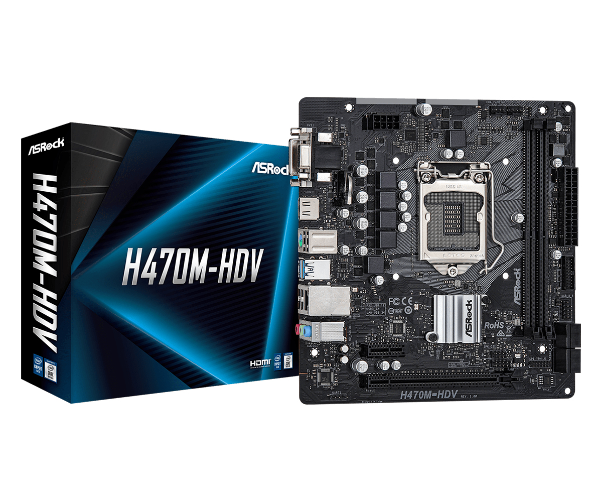 ASRock H470M-HDV - Motherboard - micro ATX - LGA1200-Sockel - H470 - USB 3.2 Gen 1 - Gigabit LAN - Onboard-Grafik (CPU erforderlich)