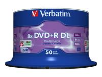 50 x DVD+R DL - 8.5 GB (240 Min.) 8x - mattes Silber