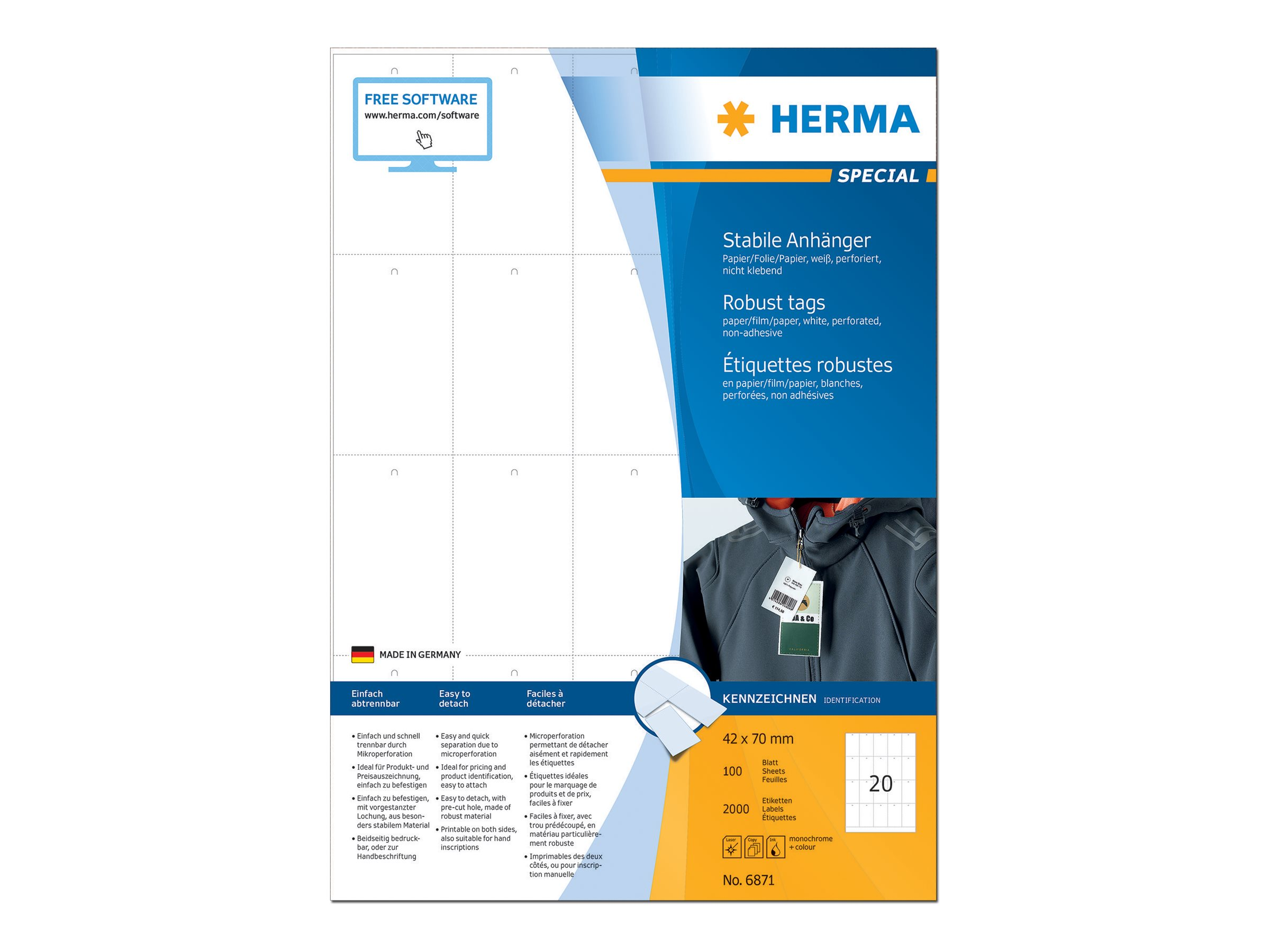 HERMA Robust Tags - Nicht klebend - perforiert - weiß - 42 x 70 mm 2000 Etikett(en) (100 Bogen x 20)