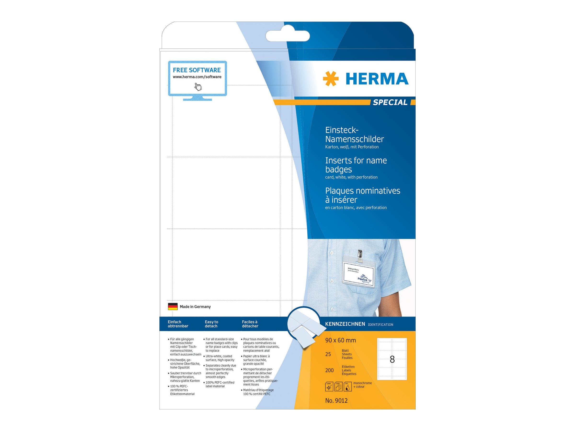HERMA Special - Nicht klebend - perforiert - weiß - 90 x 60 mm 200 Karte(n) (25 Bogen x 8)
