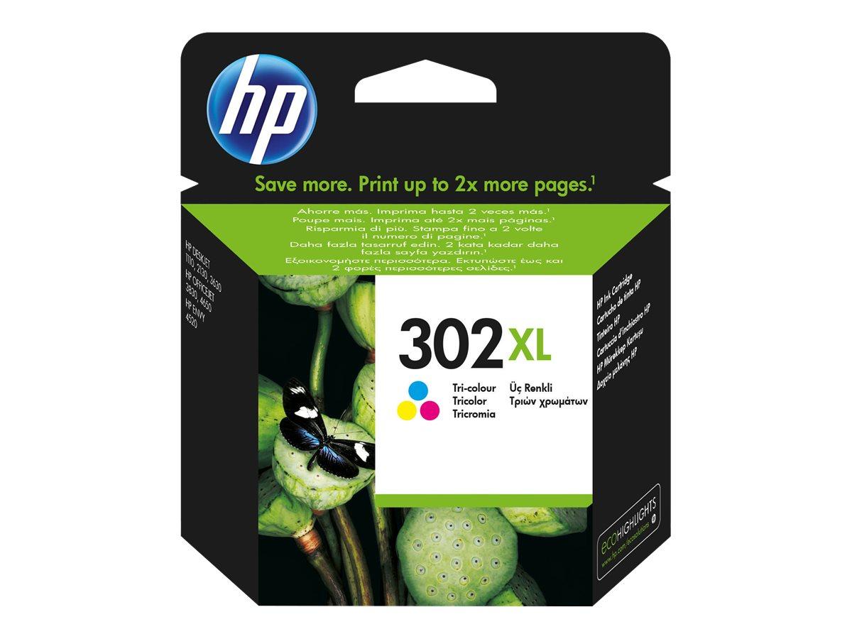 HP 302XL - 8 ml - Hohe Ergiebigkeit - Farbe (Cyan, Magenta, Gelb)