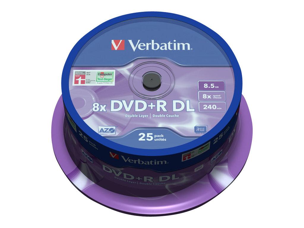 Verbatim 25 x DVD+R DL - 8.5 GB 8x - mattsilber