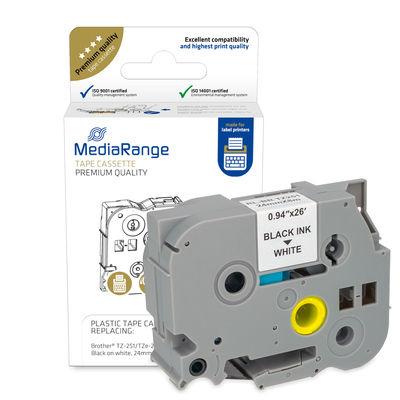 Vorschau: MEDIARANGE MRBTZ251 - Schwarz - Weiß - Tintenstrahl - Dauerhaft - Brother® P-Touch 2420PC - 2430PC - 2470 - 2480 - 2700VP - 2730VP - 3600 - 7500VP - 7600VP - 9200DX - 9400,... - 2,4 cm - 1 Stück(e)