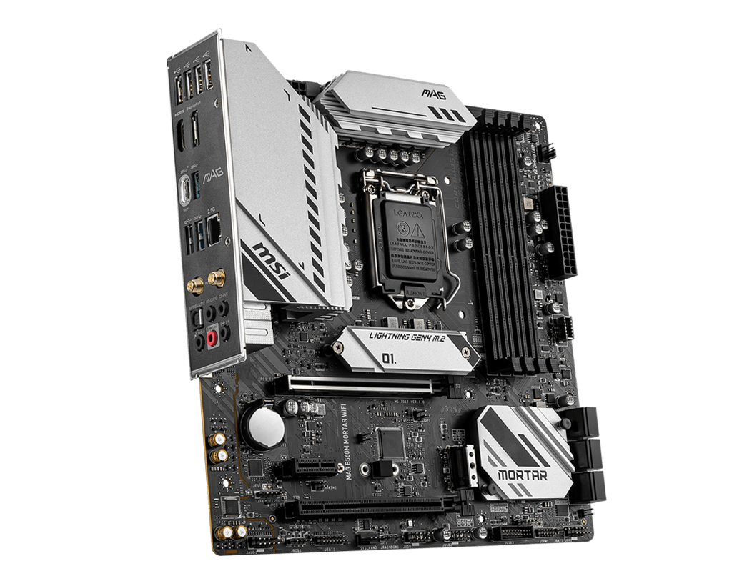 MSI MAG B560M MORTAR WIFI - Motherboard - micro ATX - LGA1200-Sockel - B560 - USB-C Gen2, USB 3.2 Gen 1, USB-C Gen 2x2 - 2.5 Gigabit LAN, Wi-Fi, Bluetooth - Onboard-Grafik (CPU erforderlich)