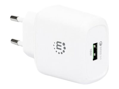 Manhattan Wall/Power Charger (Euro 2-pin), USB-A Port, Output: 1x 18W (Qualcomm Quick Charge)