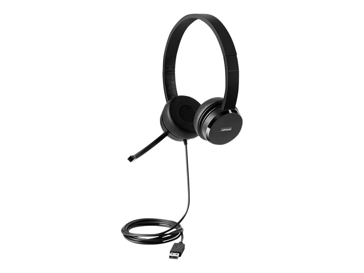 Vorschau: Lenovo 100 - Headset - On-Ear - kabelgebunden - Schwarz - für ThinkCentre M75; M75n IoT; M80; M90; ThinkPad P1 (3rd Gen)