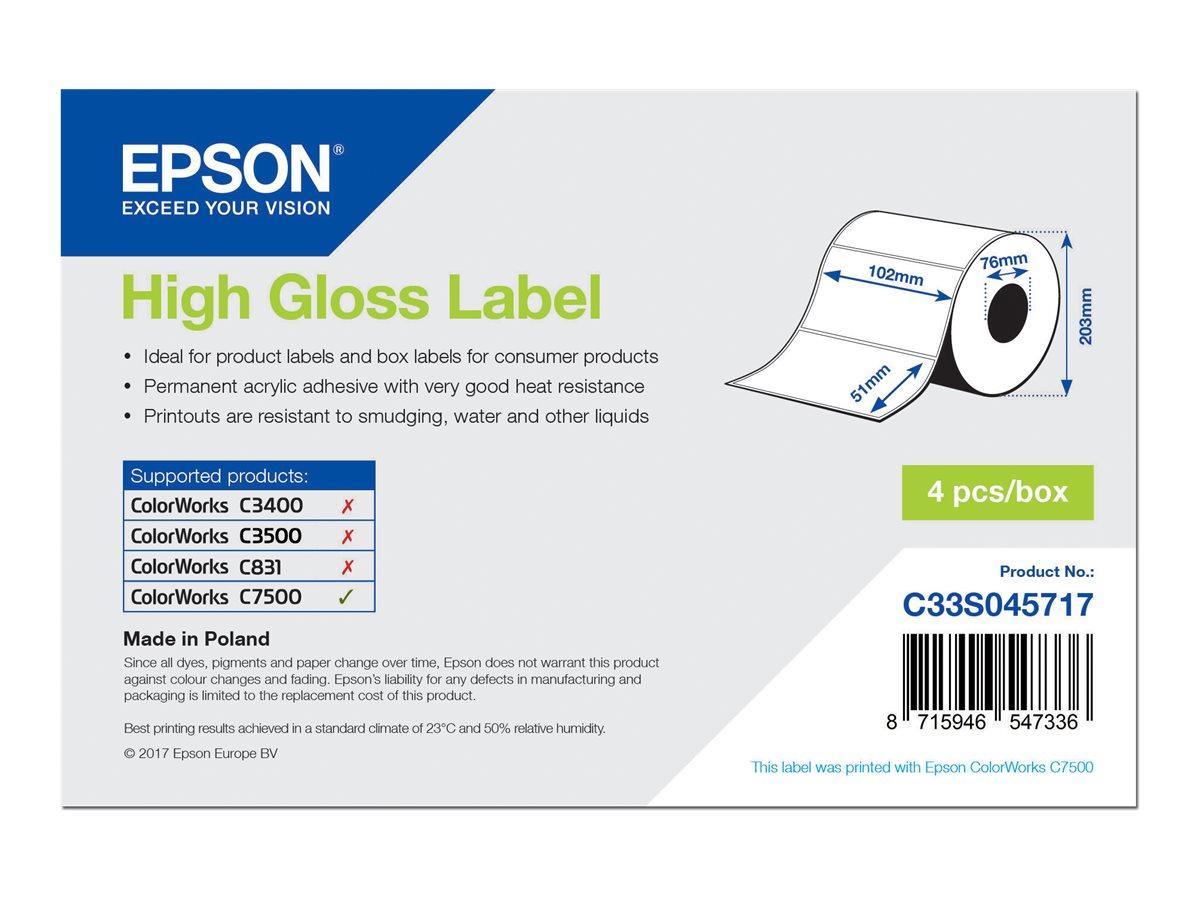 Vorschau: Epson Hochglänzend - permanenter Acrylklebstoff - 102 x 51 mm 9240 Etikett(en) (4 Rolle(n)