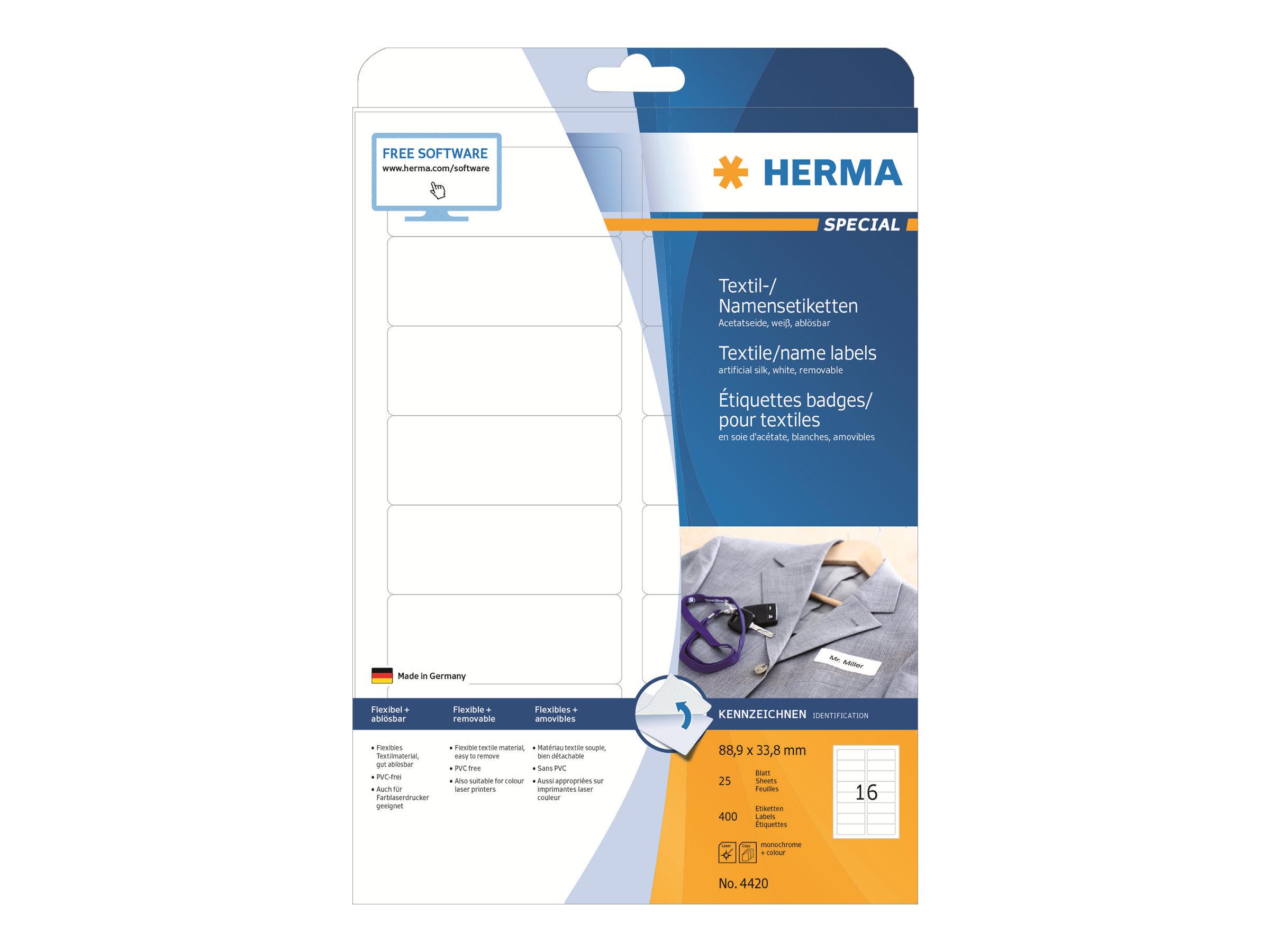 HERMA Special - Seidig - selbstklebend, entfernbarer Klebstoff - weiß - 88.9 x 33.8 mm 400 Etikett(en) (25 Bogen x 16)
