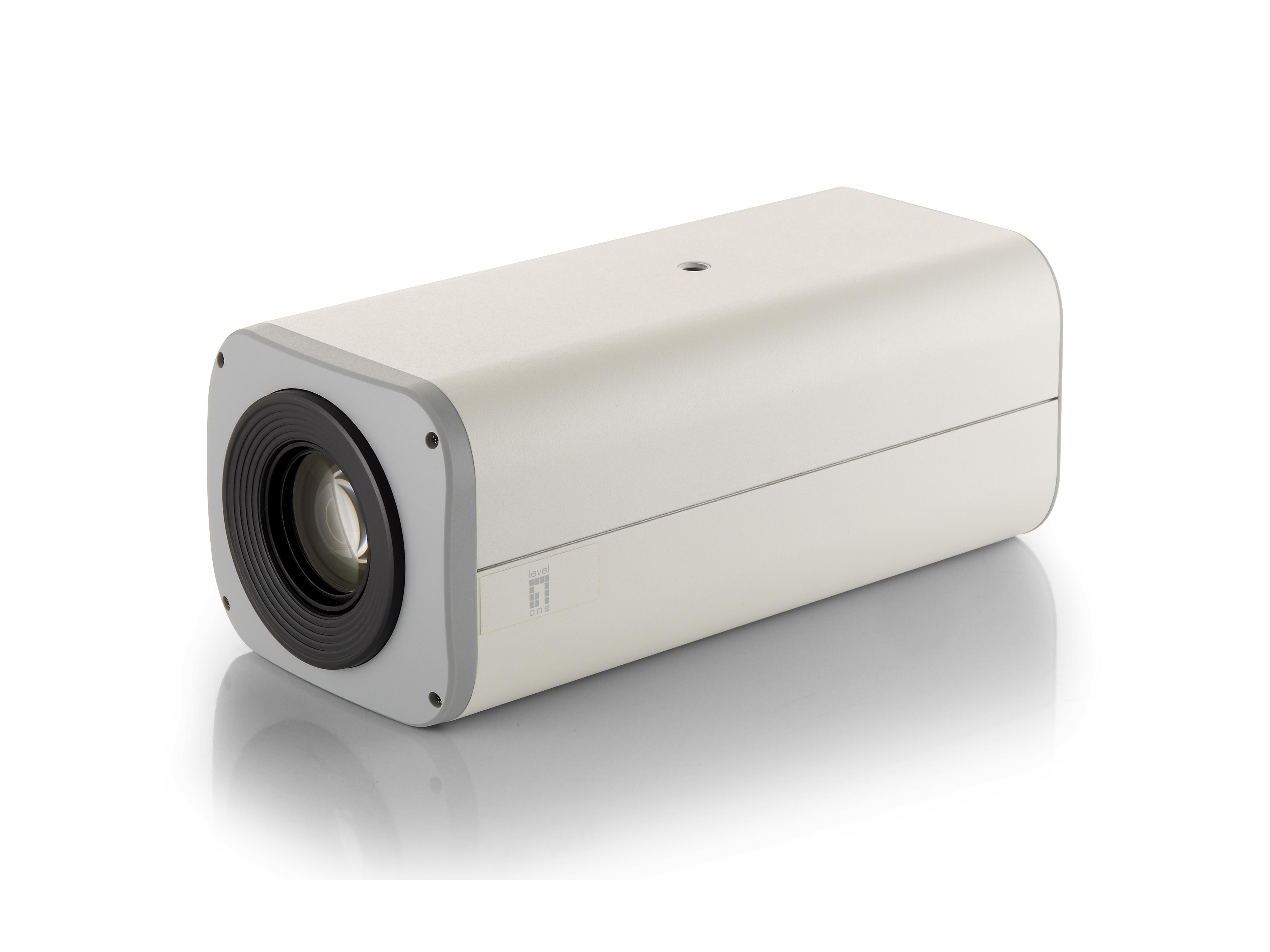 LevelOne Zoom-Netzwerkkamera - 3 Megapixel - 802.3af PoE - Tag/Nacht - 12fachen Optischen Zoom - WDR - IP-Sicherheitskamera - Verkabelt - CE - FCC - ONVIF - Geschoss - Decke/Wand - Weiß