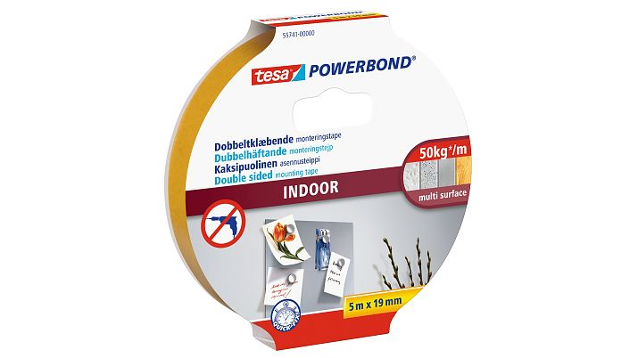 Tesa Powerbond INDOOR - Montageband - Weiß - 5 m - Indoor - Kunststoff - Holz - 2 kg/cm