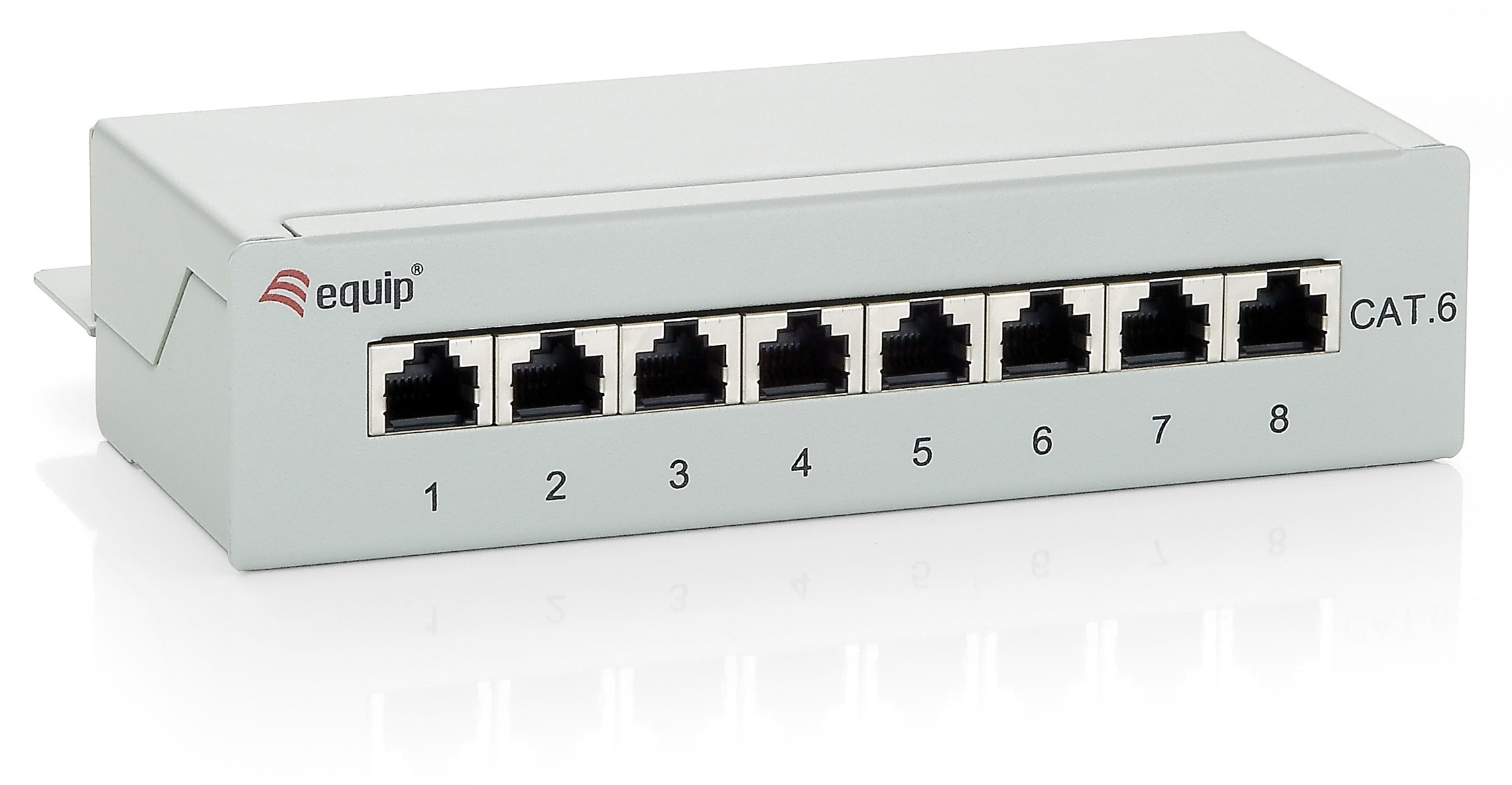 equip 8 x RJ-45 Cat.6 8-Port Patch-Panel - RAL 7.035